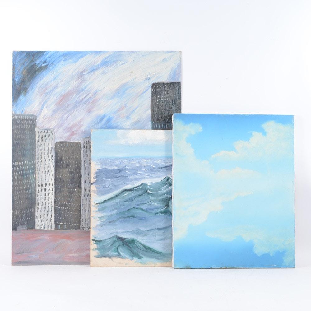 Three Oil Landscape Paintings on Board