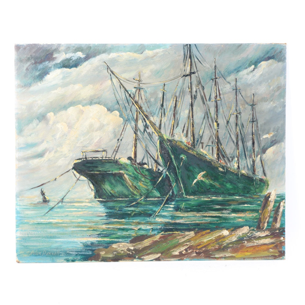 Nolan Pennell Oil on Board Sailing Ships