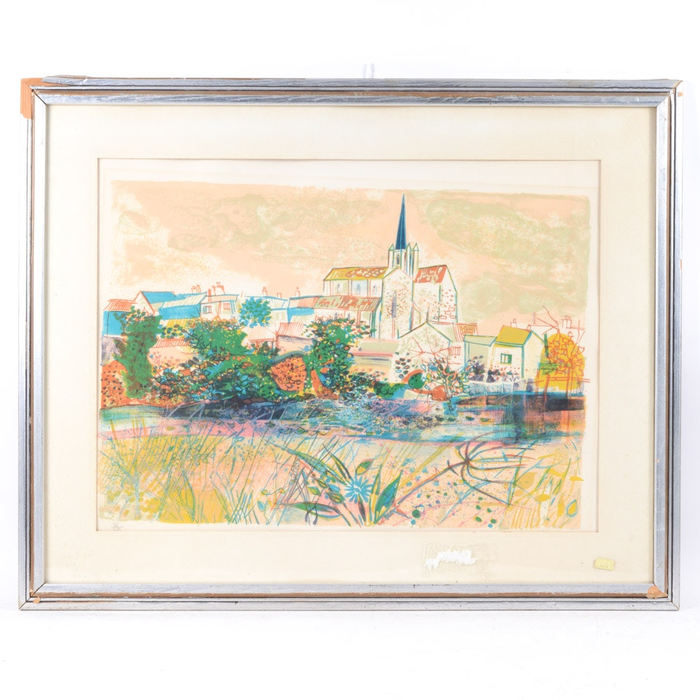 Claude Grosperrin Limited Edition Color Lithograph of French Cathedral Village