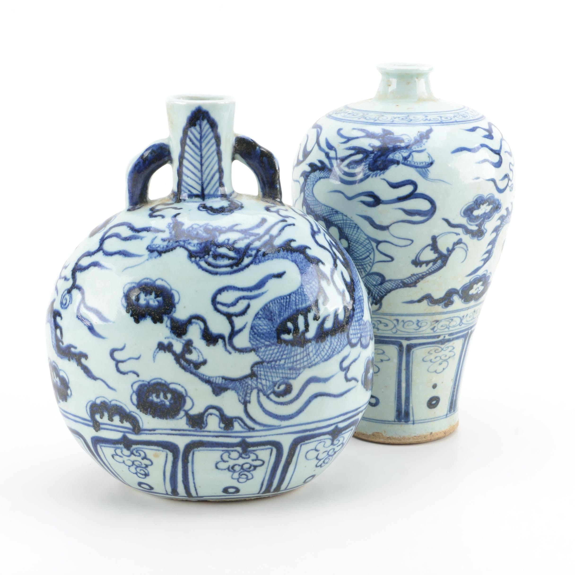 Chinese Blue and White Ceramic Dragon Vases