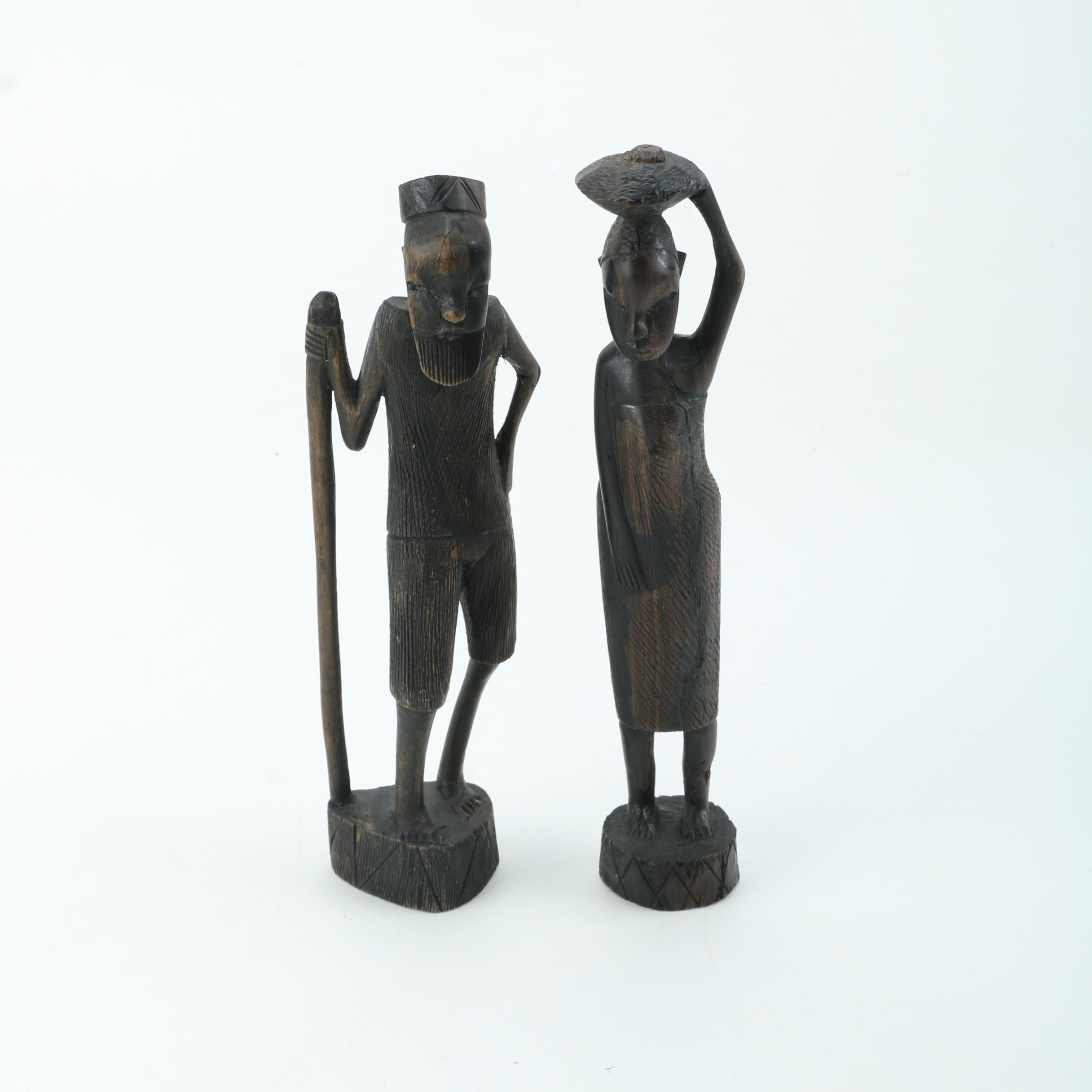 Kenyan Carved Wood Sculptures of a Man and Woman