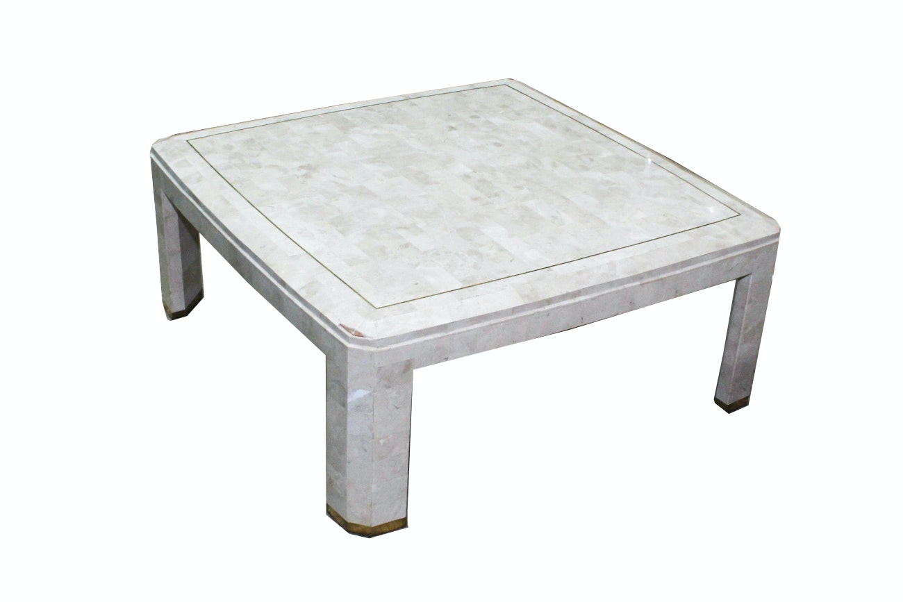 Karl Springer Style Tessellated Veneer Square Coffee Table ...