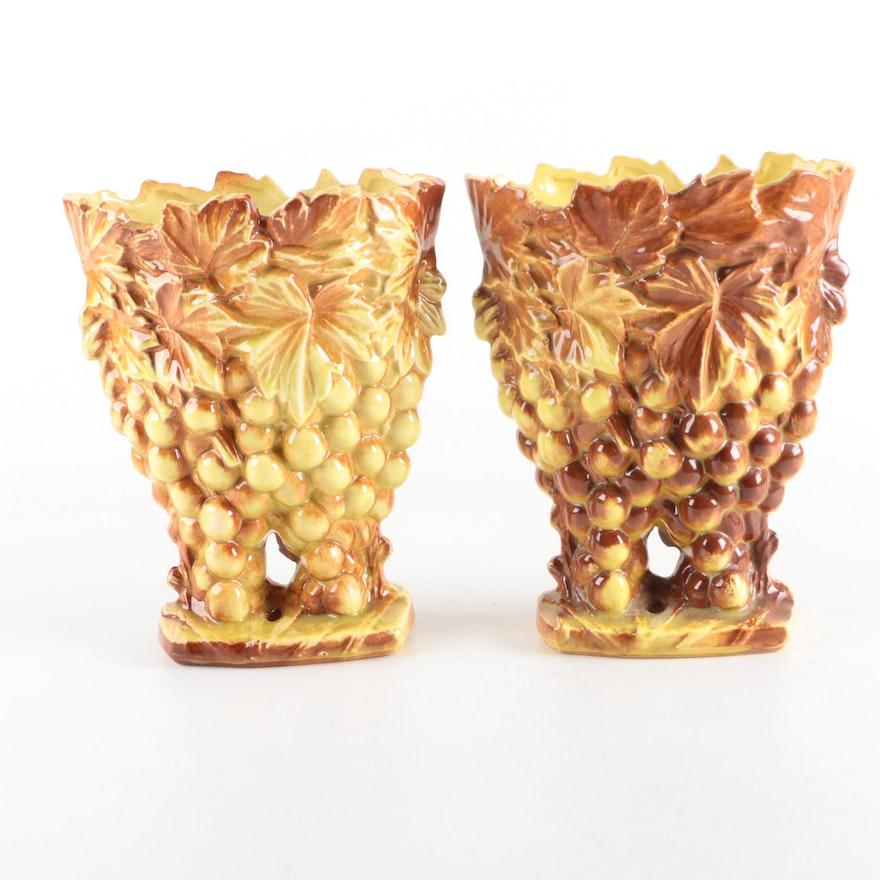 Mccoy Grape Themed Ceramic Vases Ebth