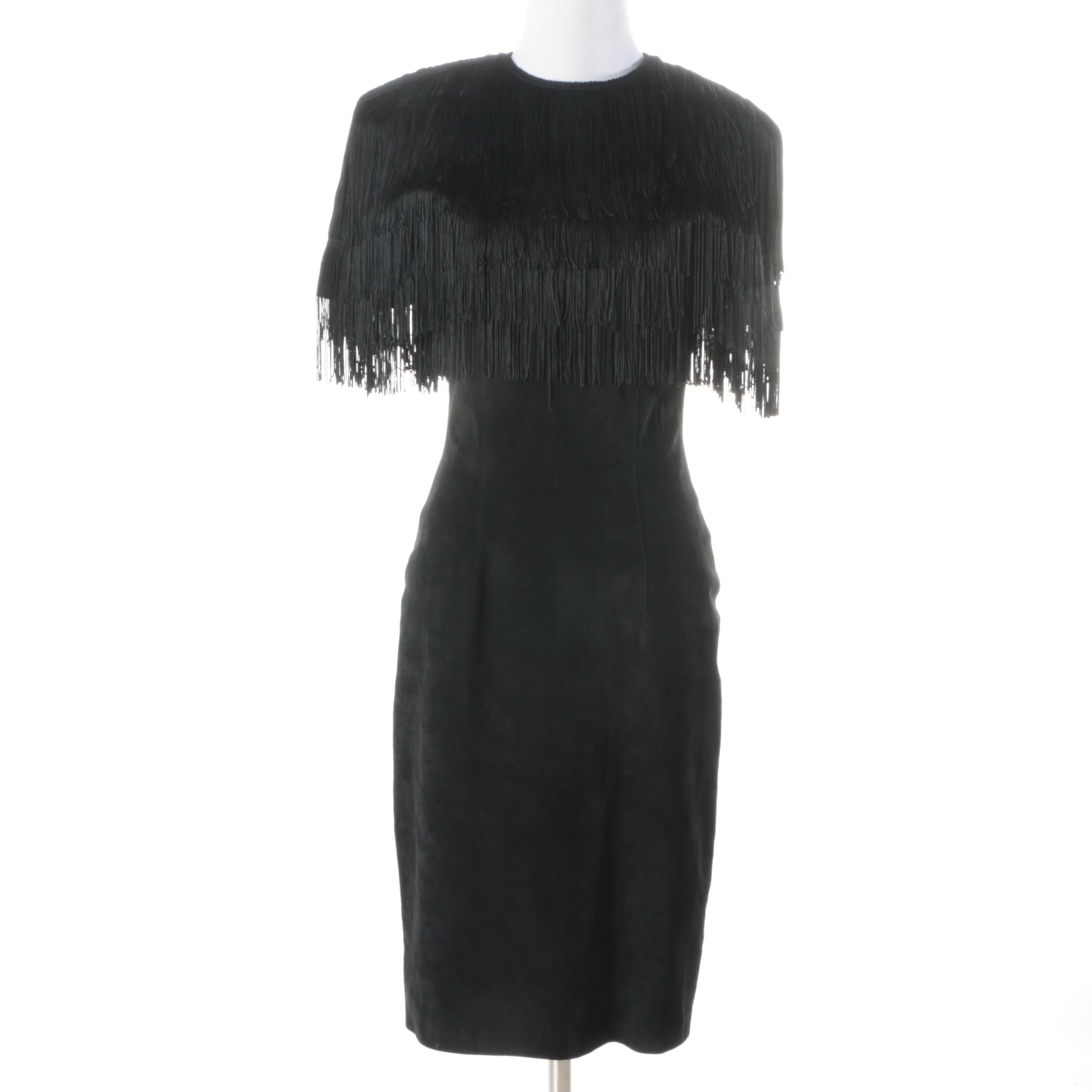 Pia Rucci Black Suede and Fringe Dress