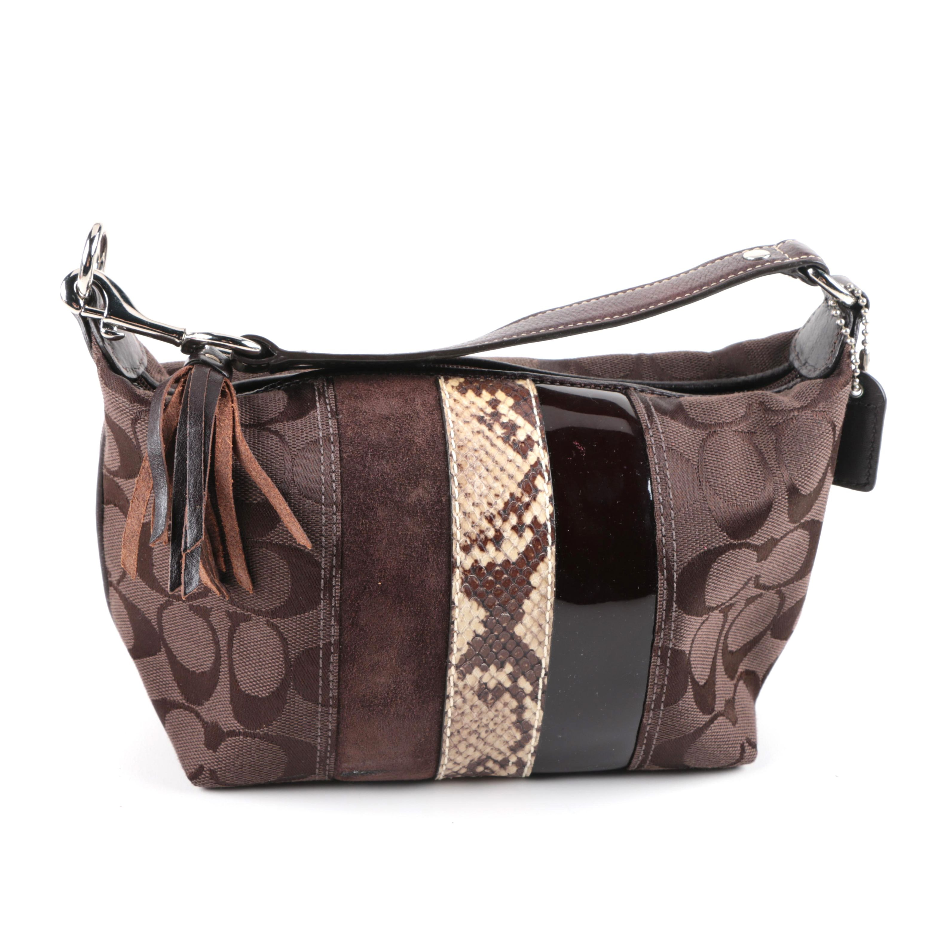 Coach Signature Canvas, Suede and Leather Handbag with Embossed Snakeskin Print
