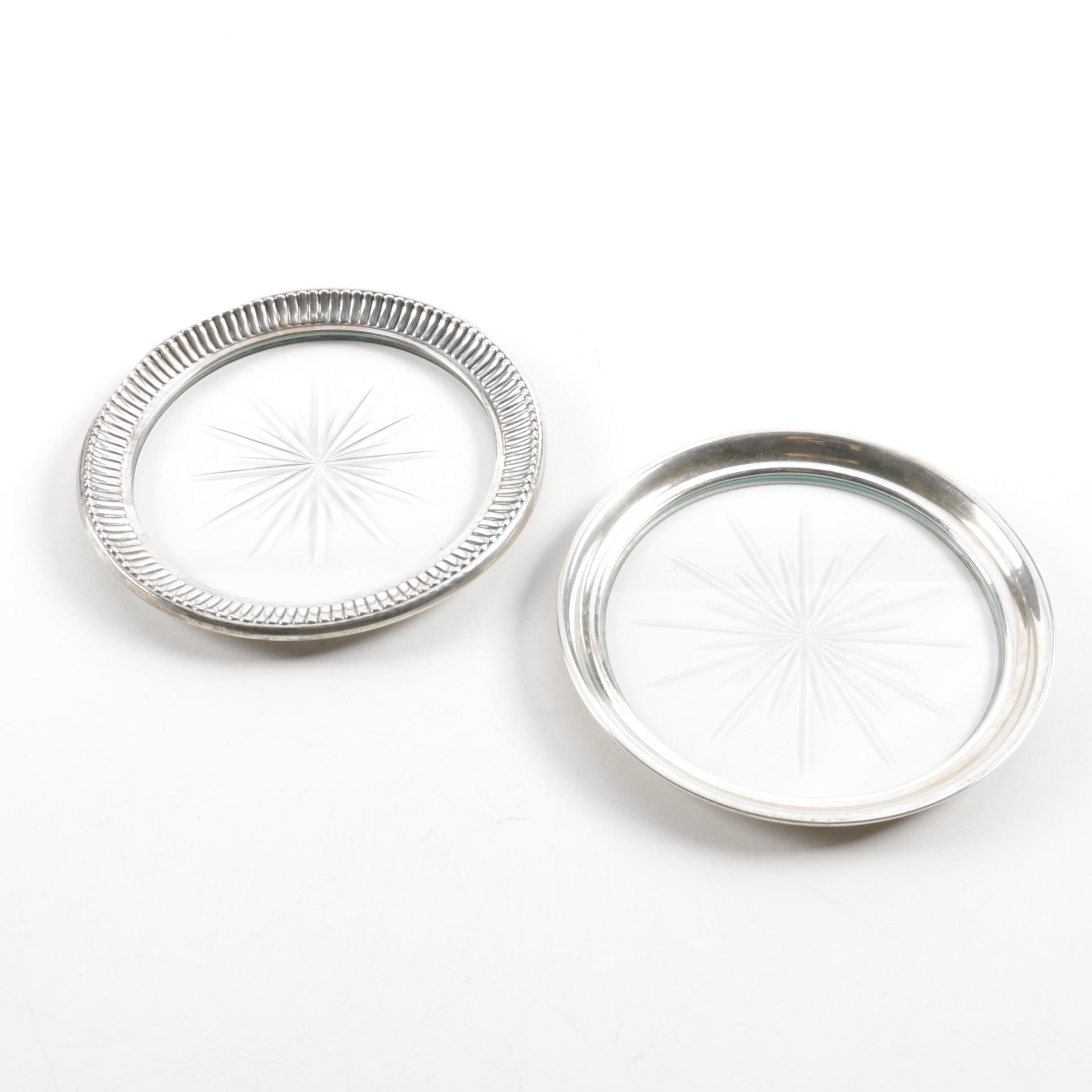 Webster Co. Sterling Silver Rimmed Glass Coasters