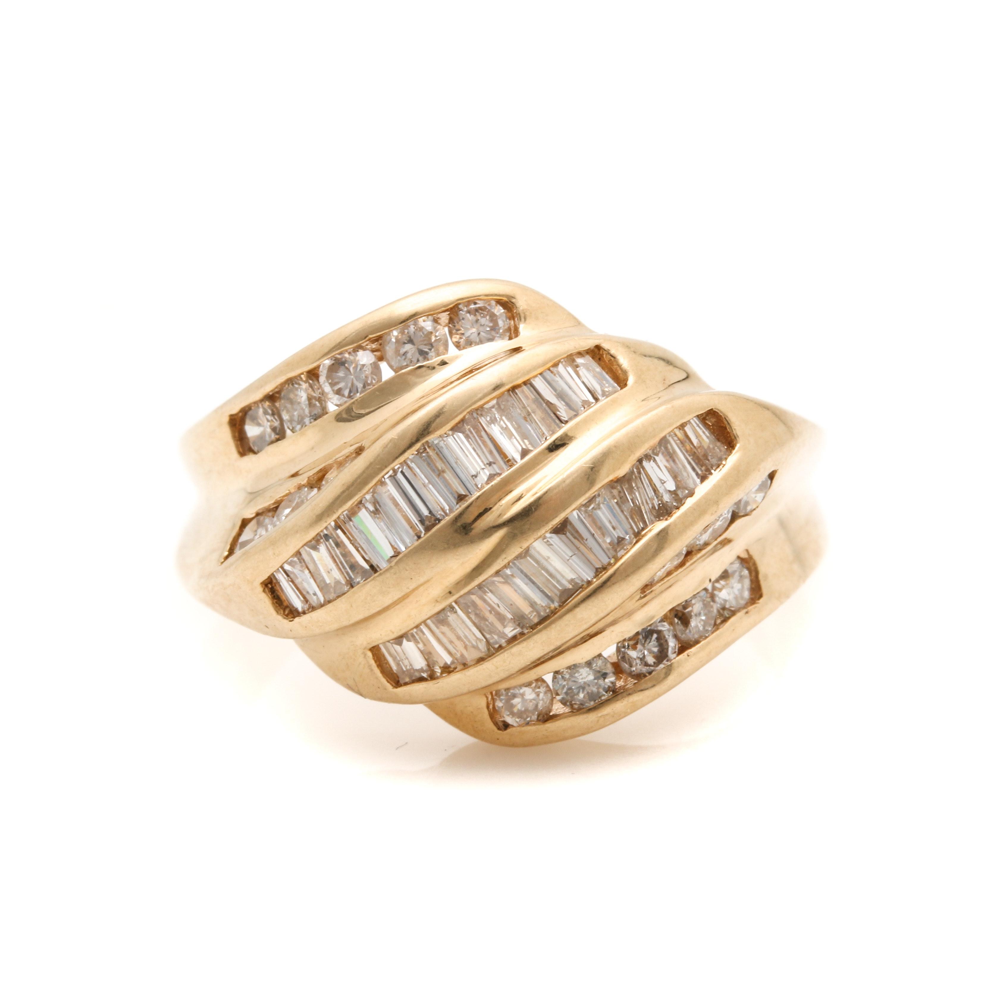 14K Yellow Gold 1.23 CTW Diamond Dome Ring