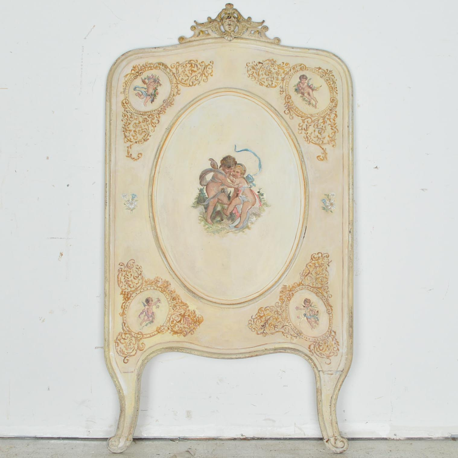 Antique Hand-Painted Cast Iron Child's Headboard with Cherubs