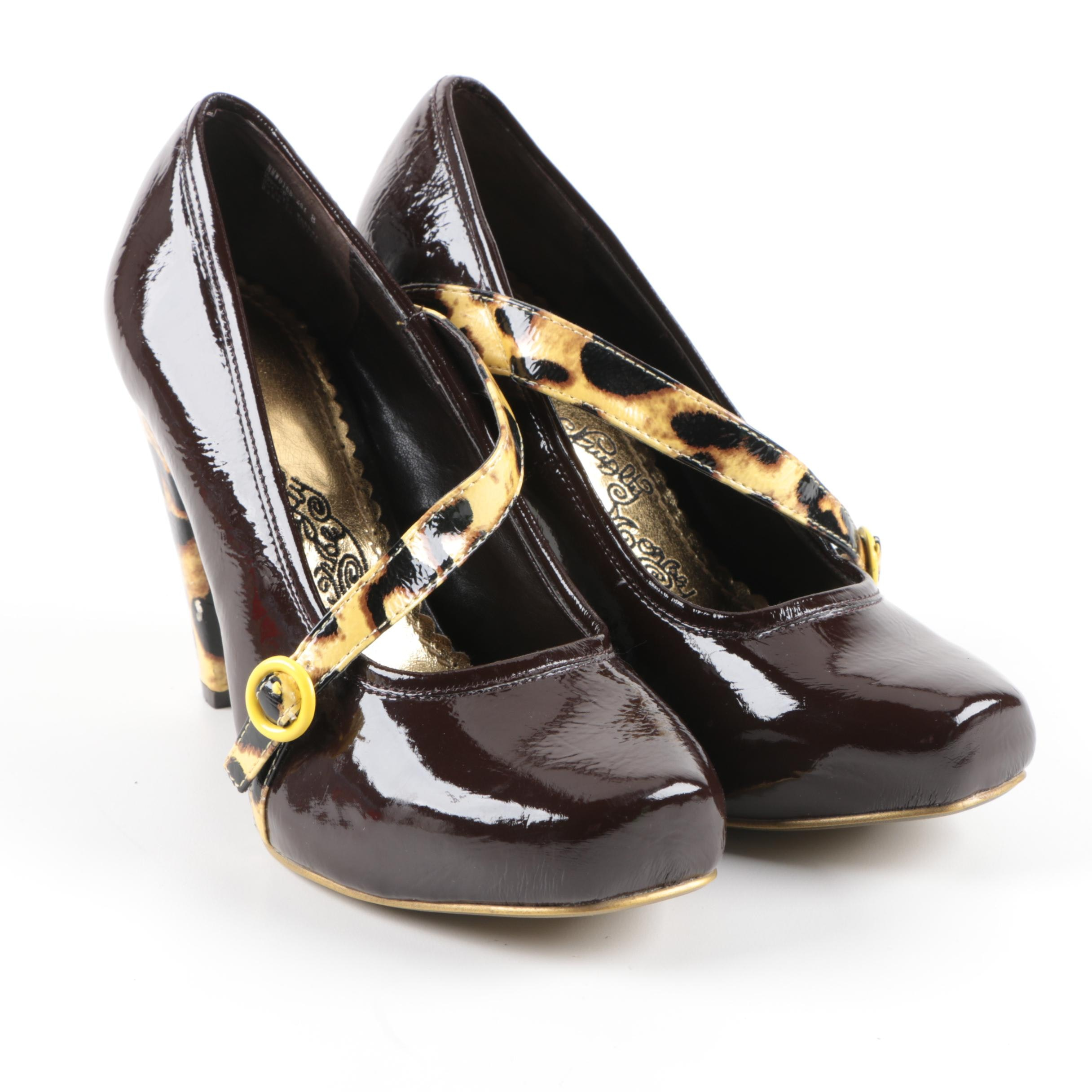 Naughty Monkey Brown Patent Leather High Heels with Leopard Print