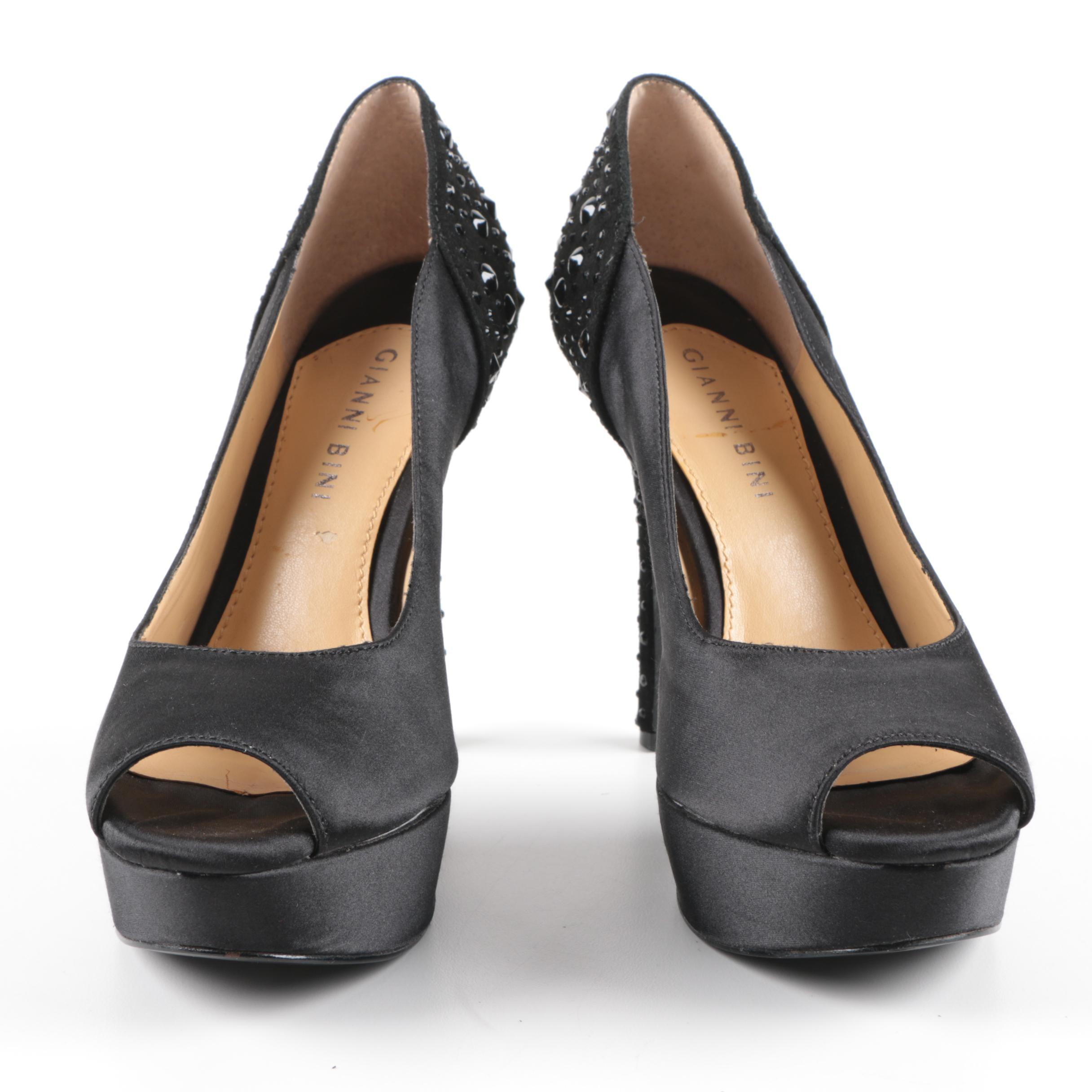 Gianni Bini Black Satin, Suede and Rhinestone Studded Heels