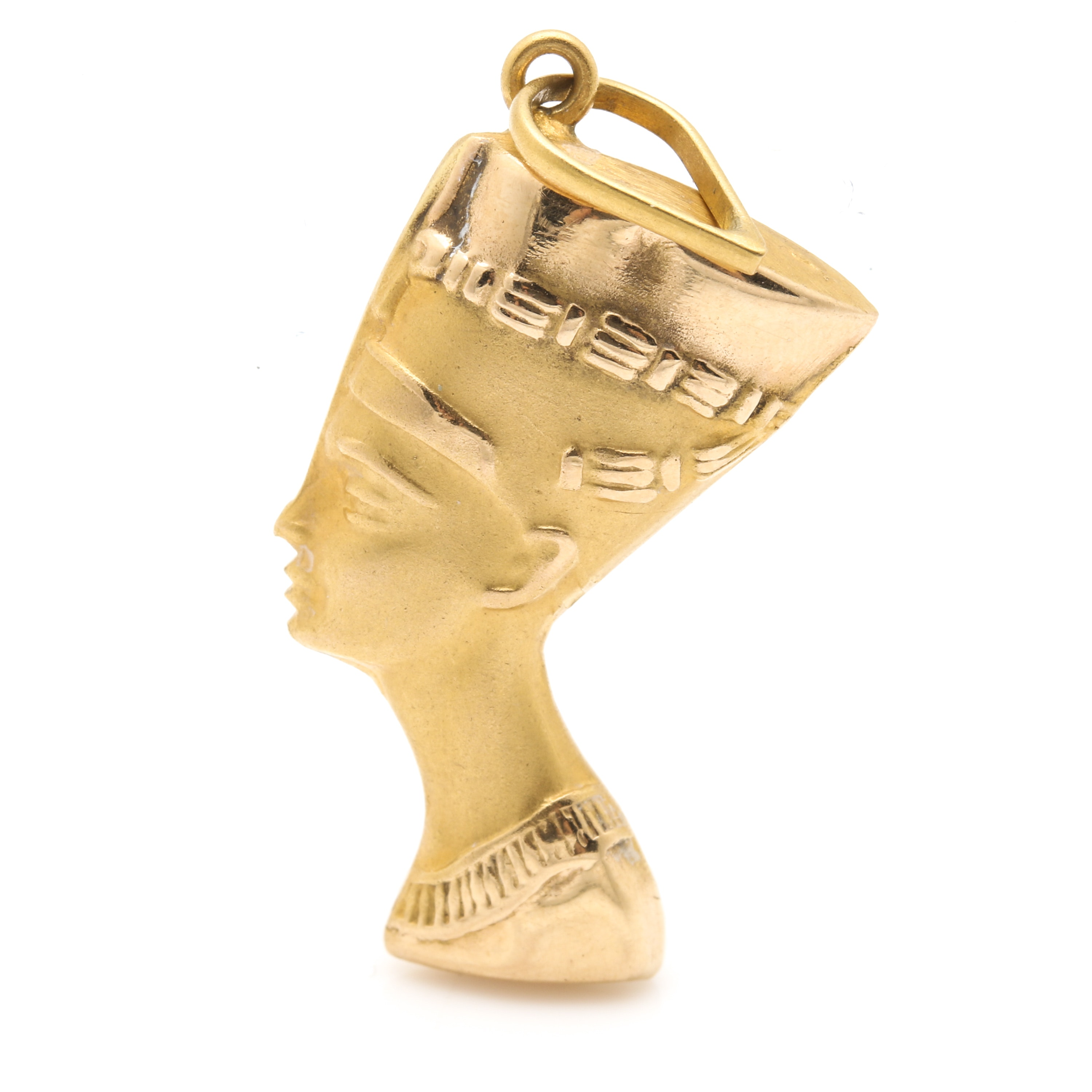18K Yellow Gold Egyptian Styled Figural Profile Pendant