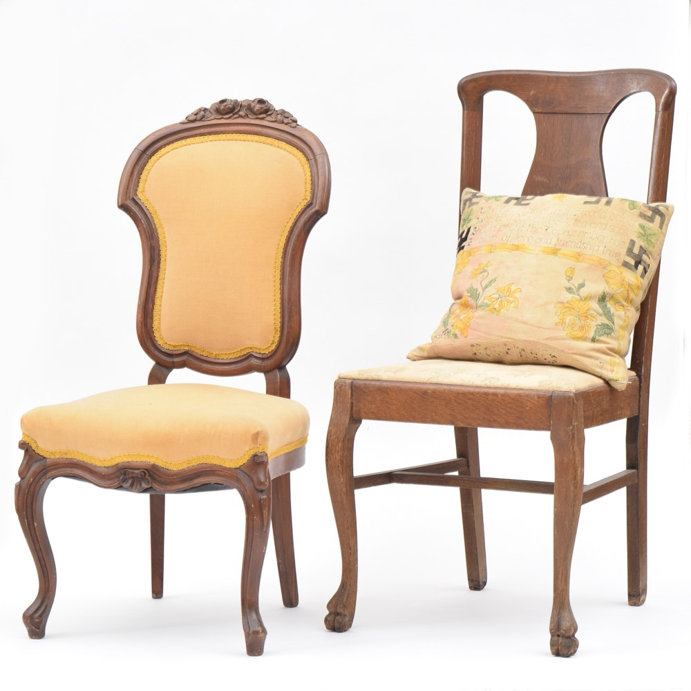 Victorian Accent Chair with Oak Side Chair and Peace Pillow