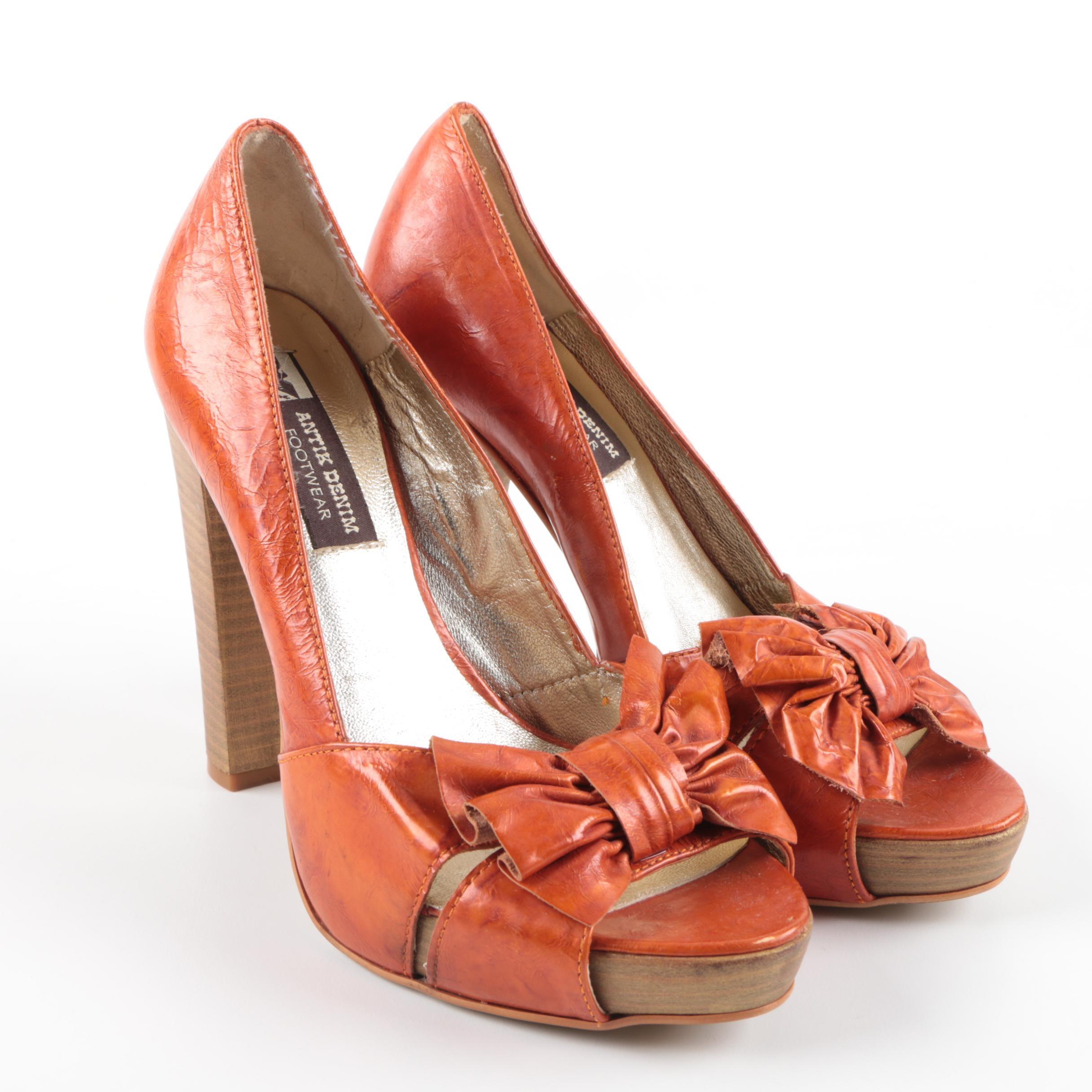 Antik Denim Orange Leather Heels