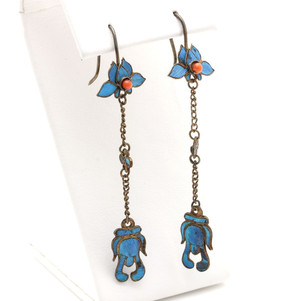 Antique Chinese Kingfisher Feather Drop Earrings
