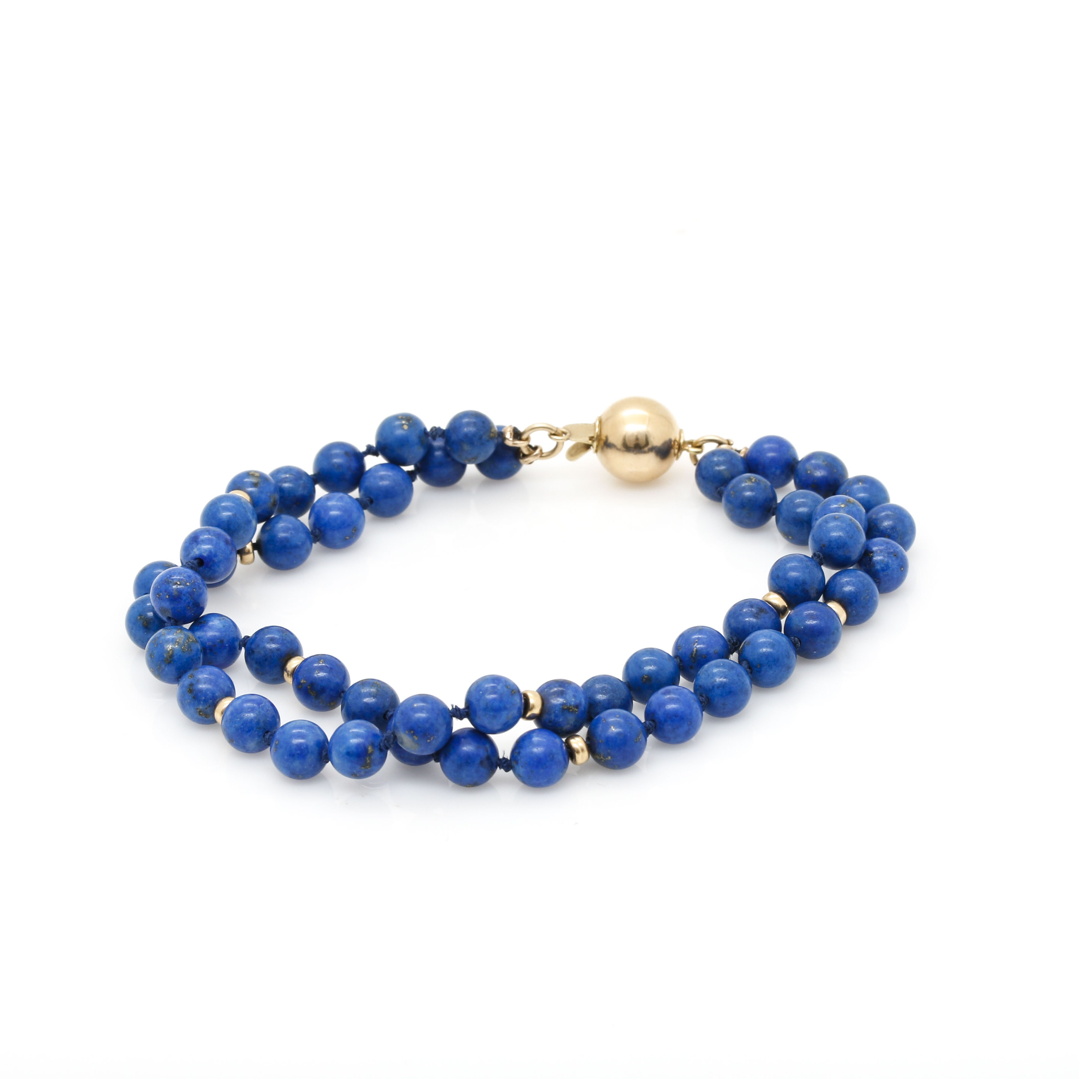 14K Yellow Gold Lapis Lazuli Double Strand Bracelet