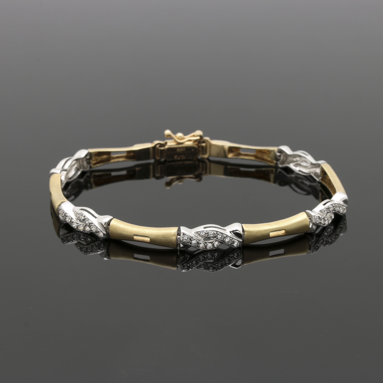 14K Two Tone Gold Cubic Zirconia Bracelet