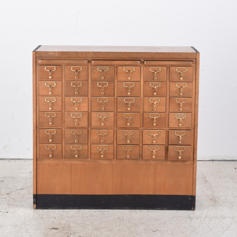 Vintage Library Card Catalog Cabinet ...