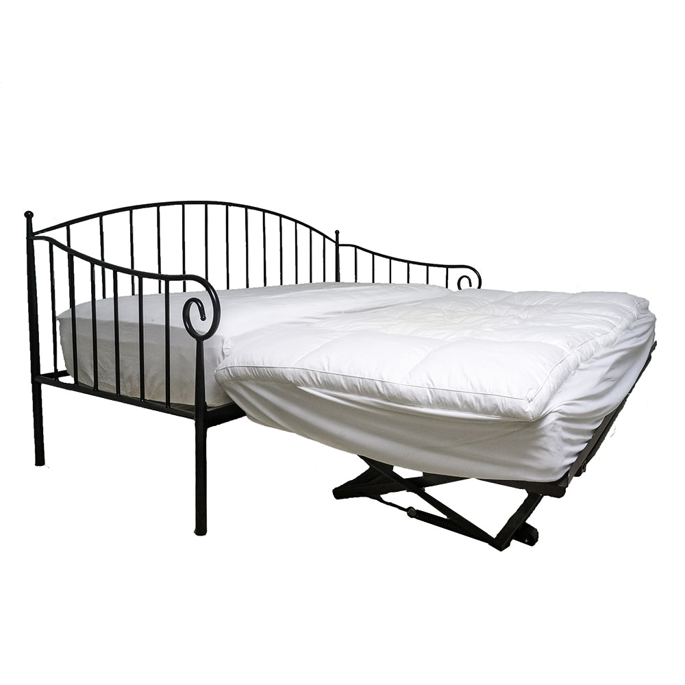Twin Size Black Metal Daybed with Pop-Up Trundle