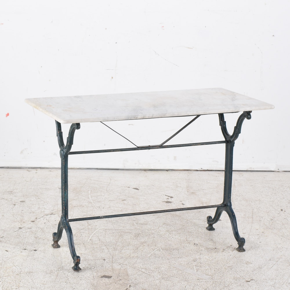 Antique French Wrought Iron Bistro Table With Marble Top ...