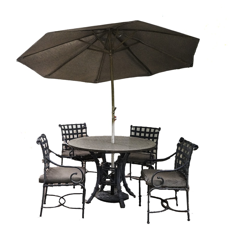 Patio table with chairs and umbrella ebth for Patio table and umbrella sets