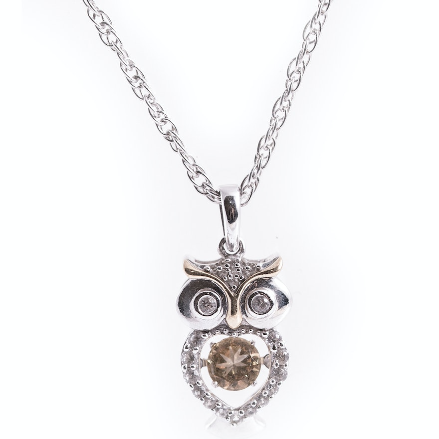 Sterling silver owl pendant set with white topaz ebth sterling silver owl pendant set with white topaz mozeypictures Image collections