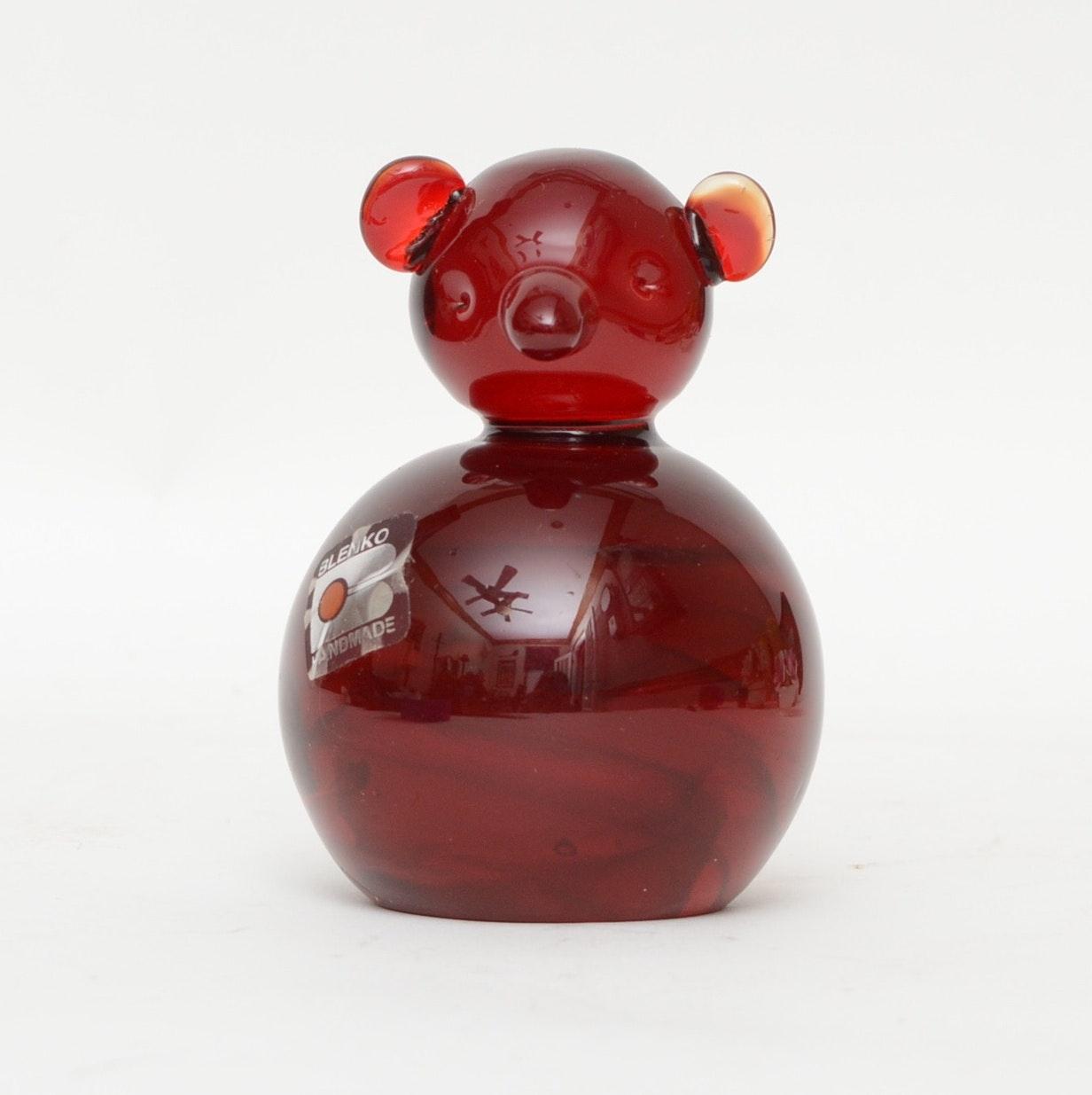 Hand Crafted Blenko Glass Bear Paperweight