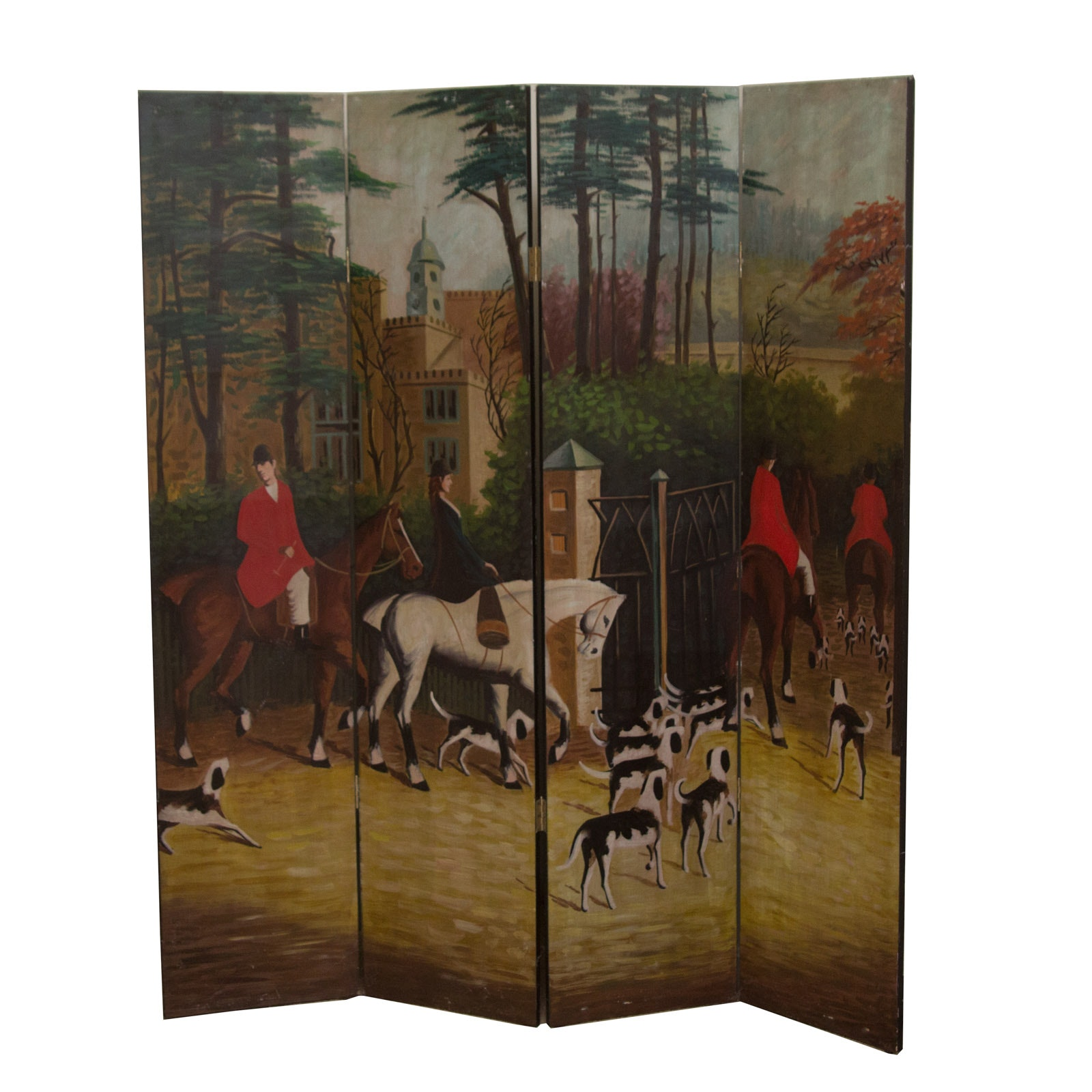 Hand Painted Screen Room Divider with Fox Hunt Scene EBTH