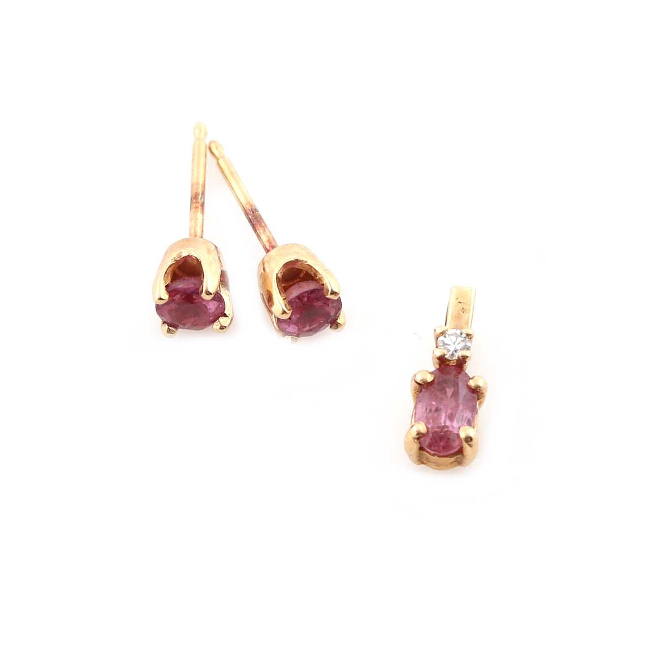 14K Yellow Gold Ruby Earrings and Pendant