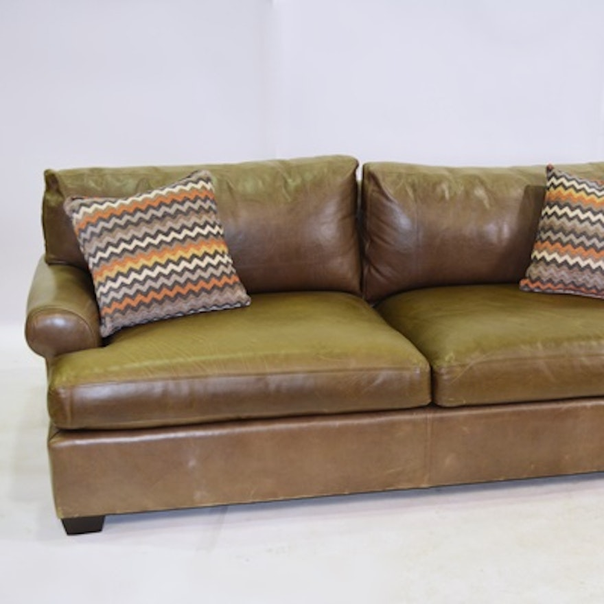 Crate & Barrel Mocha Leather Sofa : EBTH