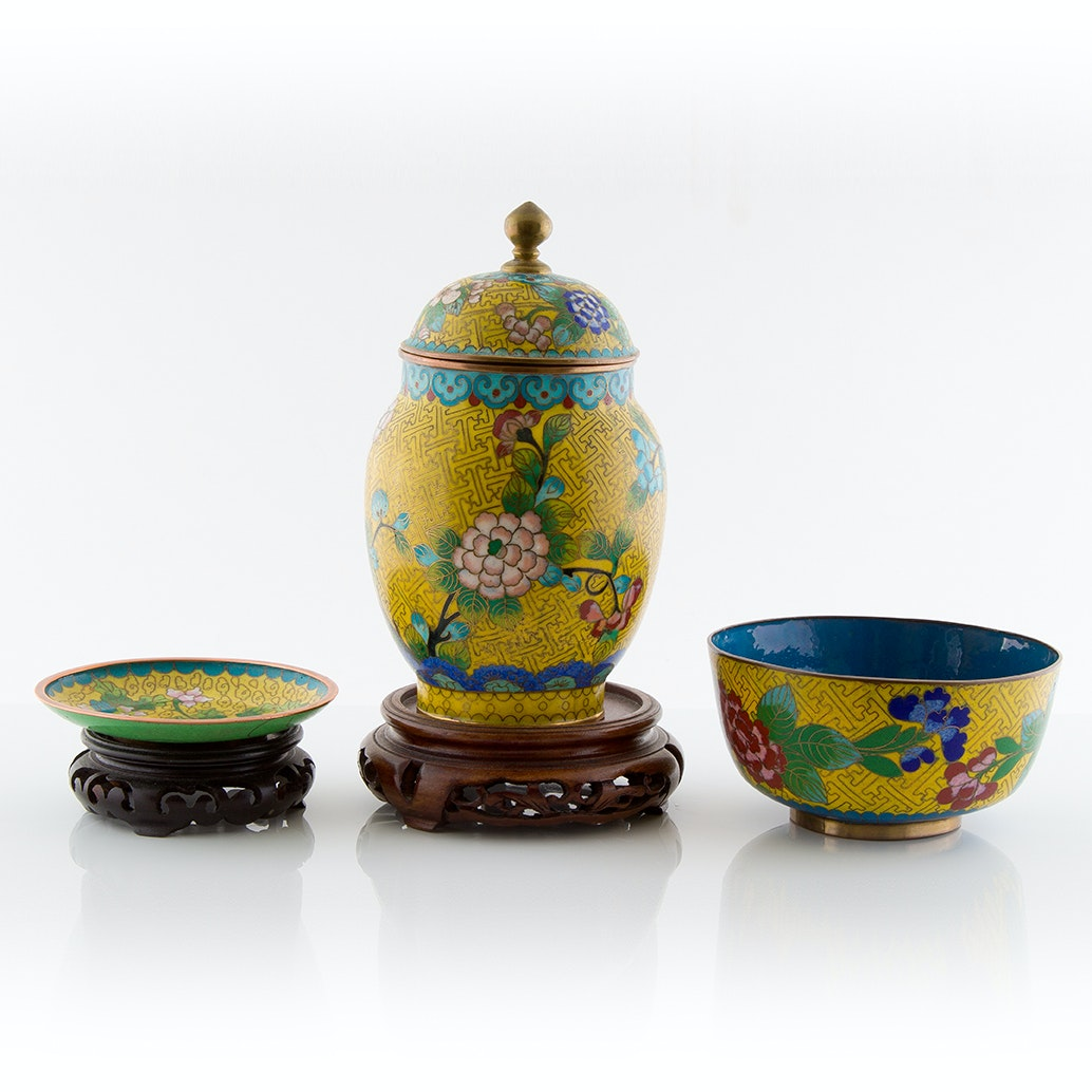 Cloisonné Ginger Jar, Bowl and Miniature Display Plate