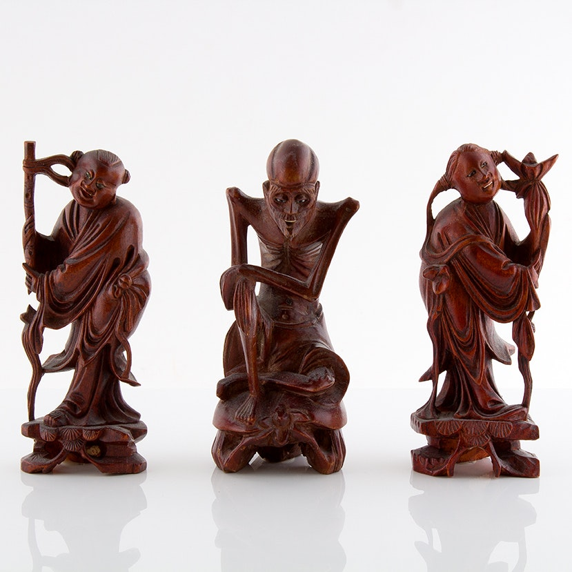 Chinese Carved Rosewood Sculptures