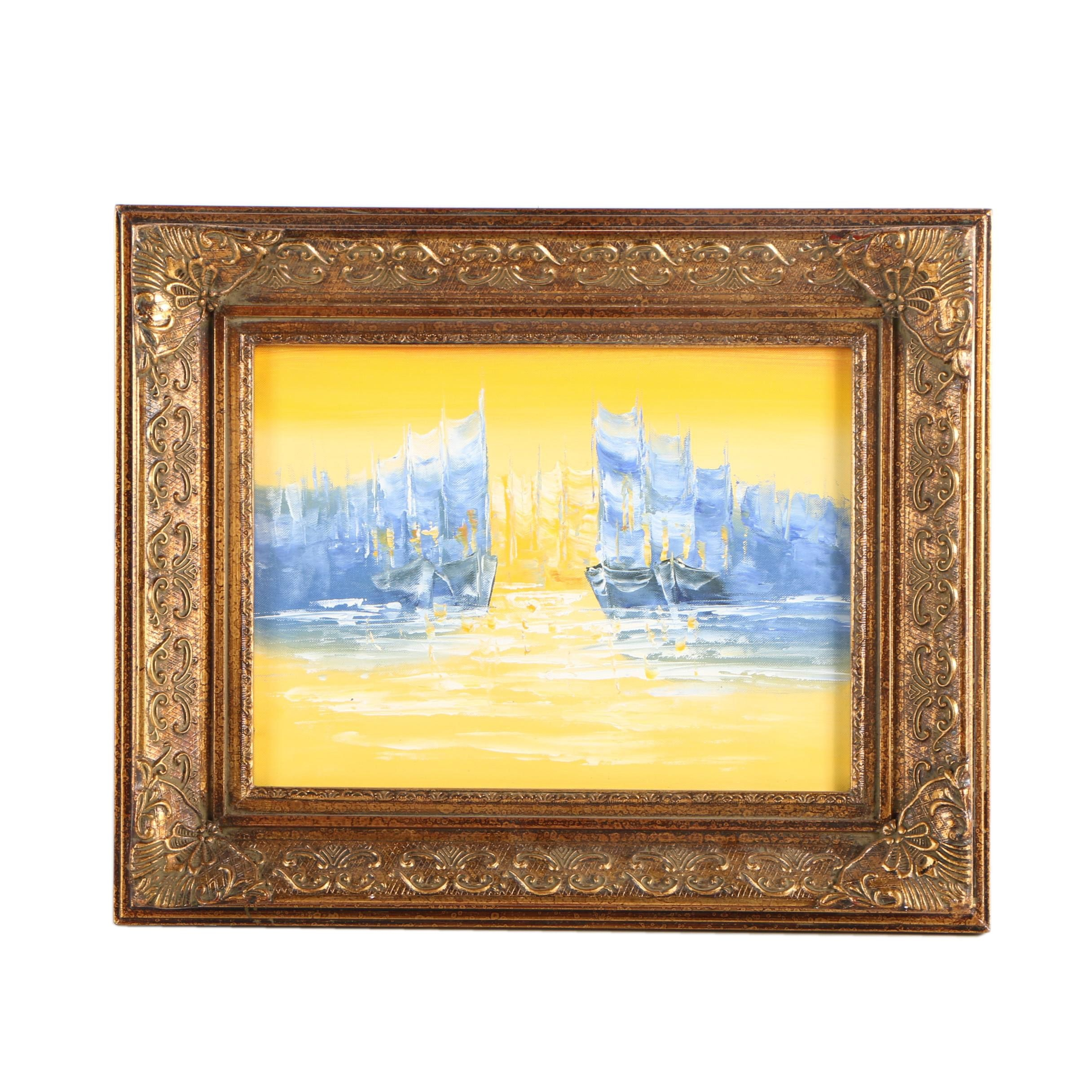 Abstract Oil Painting of Boats