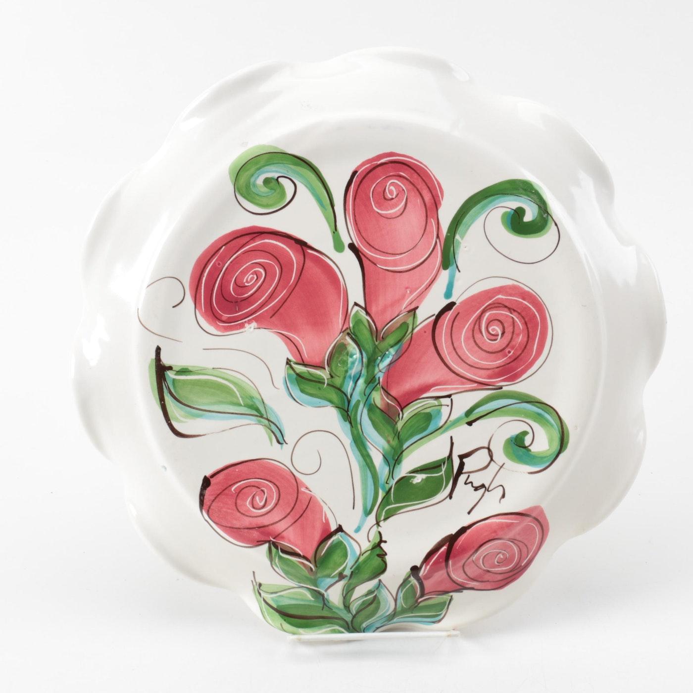 H Pugh Pottery Hand-Painted Pl...