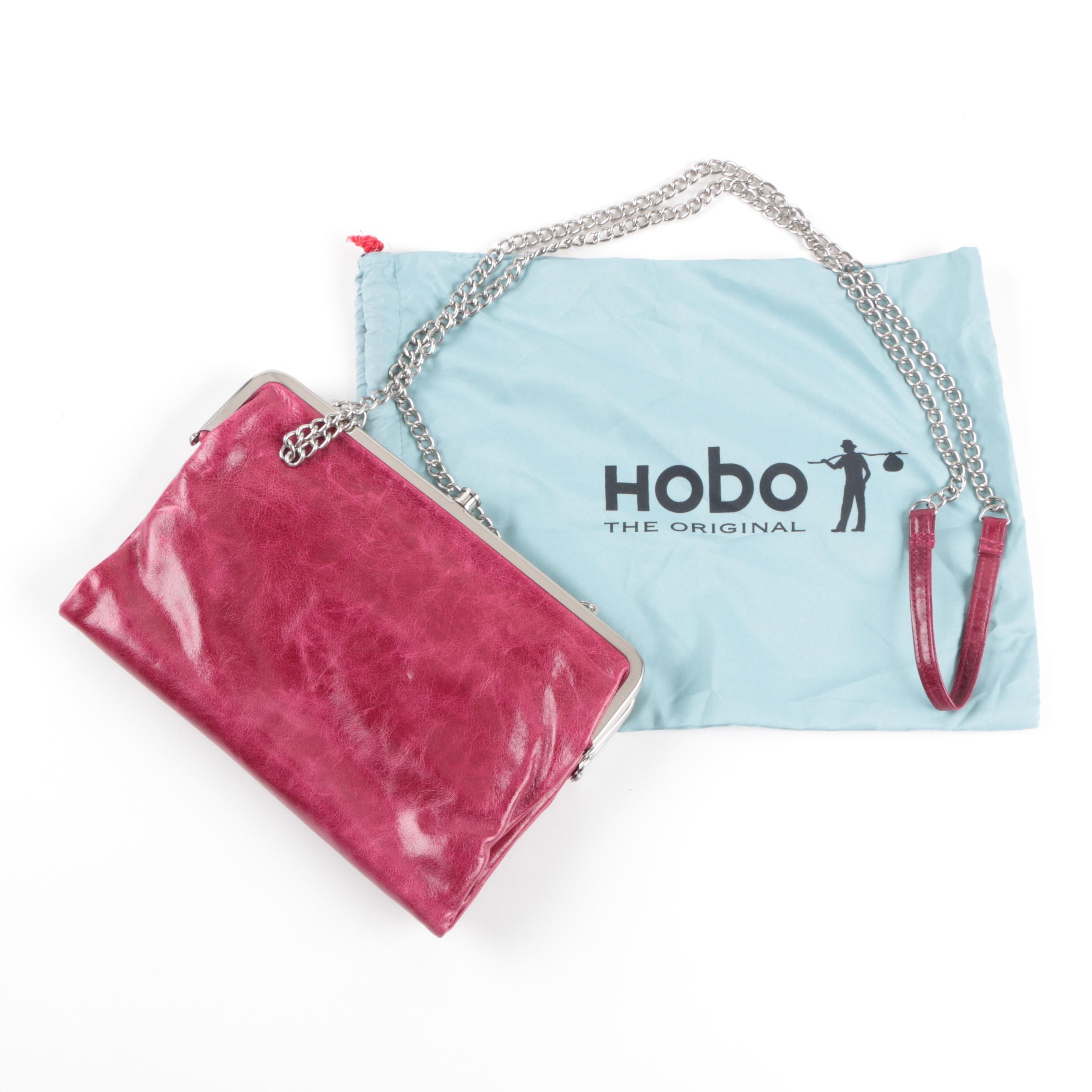 Hobo Red Leather Crossbody Lauren Clutch