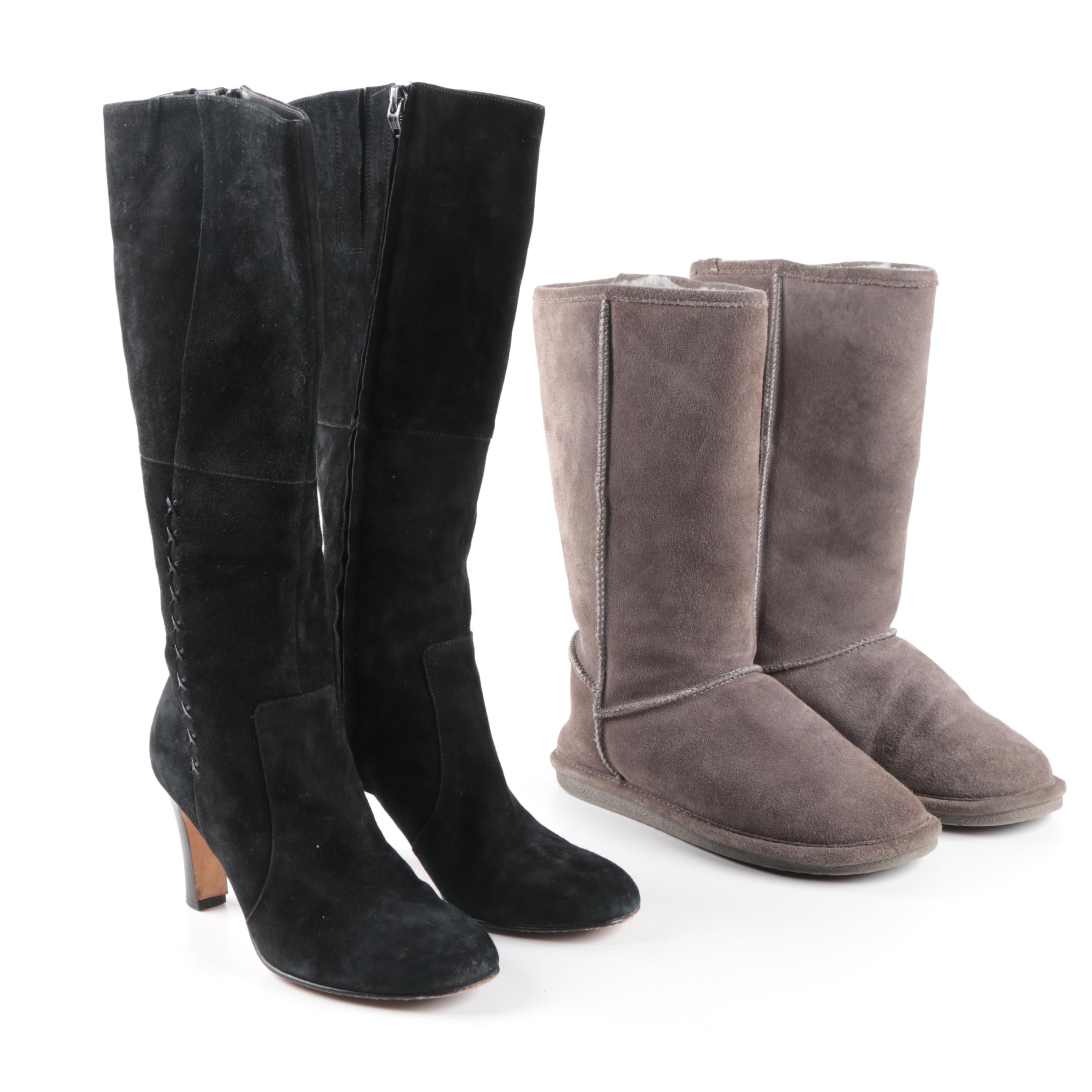 Women's Laura Ashley High Heel Boots and Bjorndal Suede Sheepskin Boots