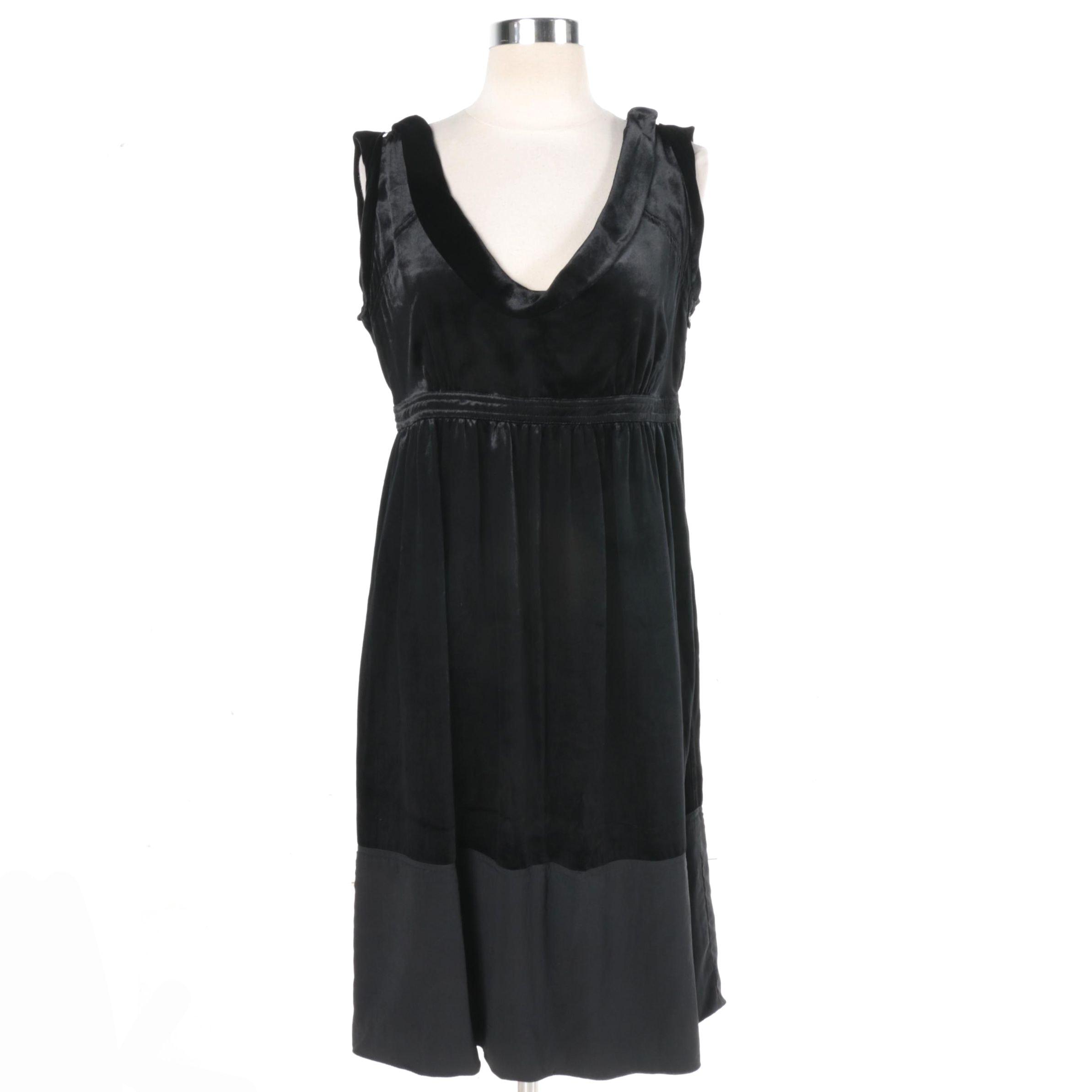 Burberry London Black Satin Sleeveless Dress