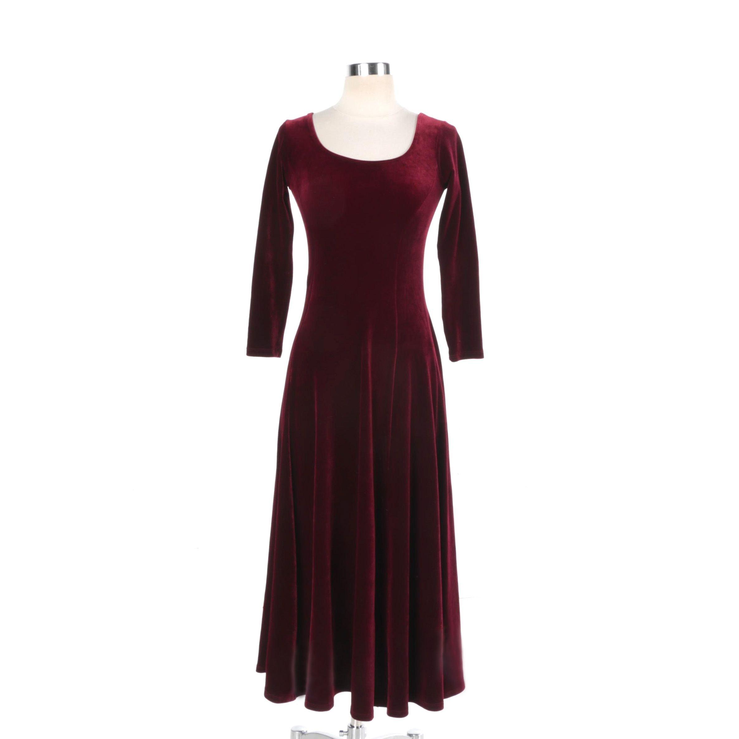 Burgundy Velvet Long Sleeve Dress