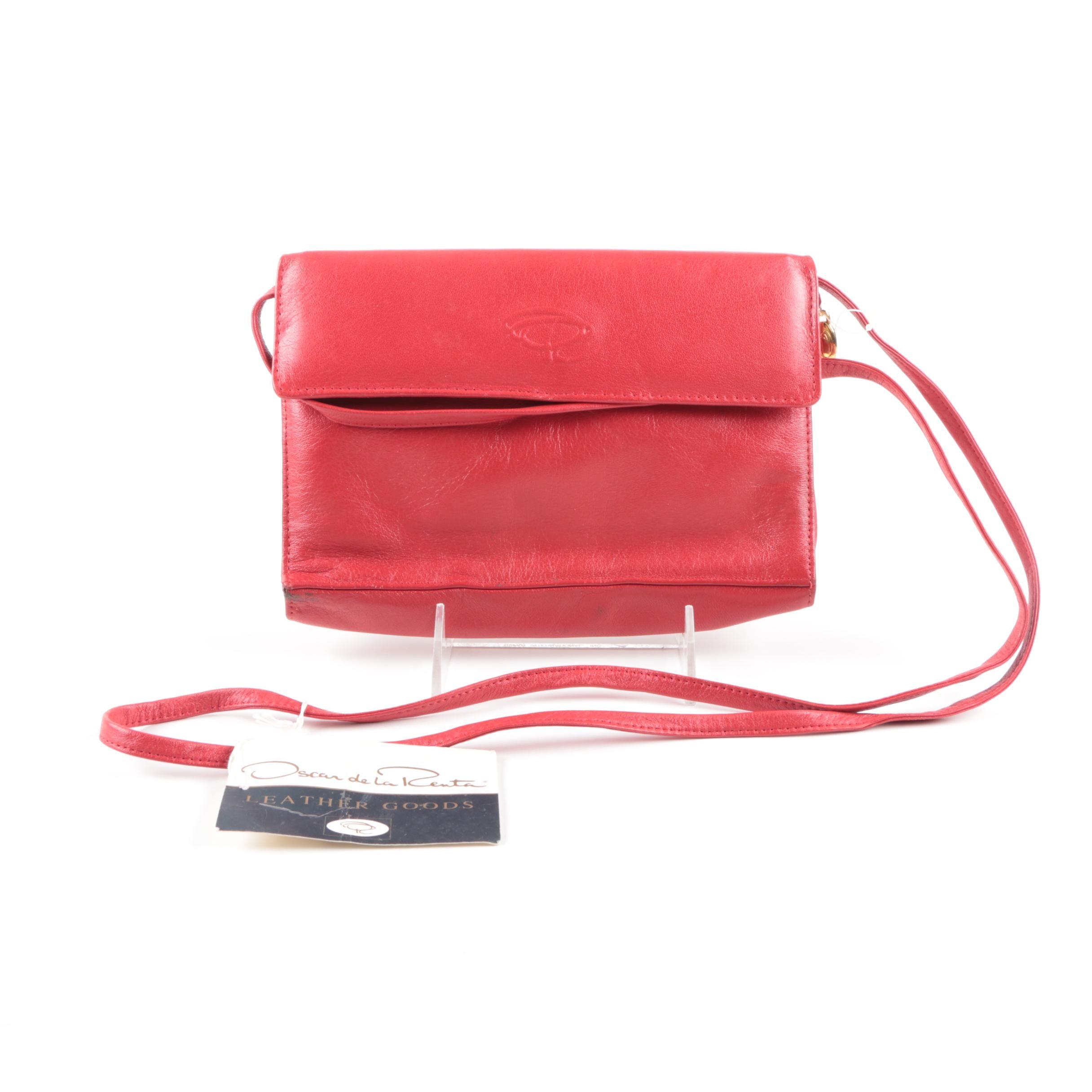 Oscar de la Renta Red Leather Crossbody Bag