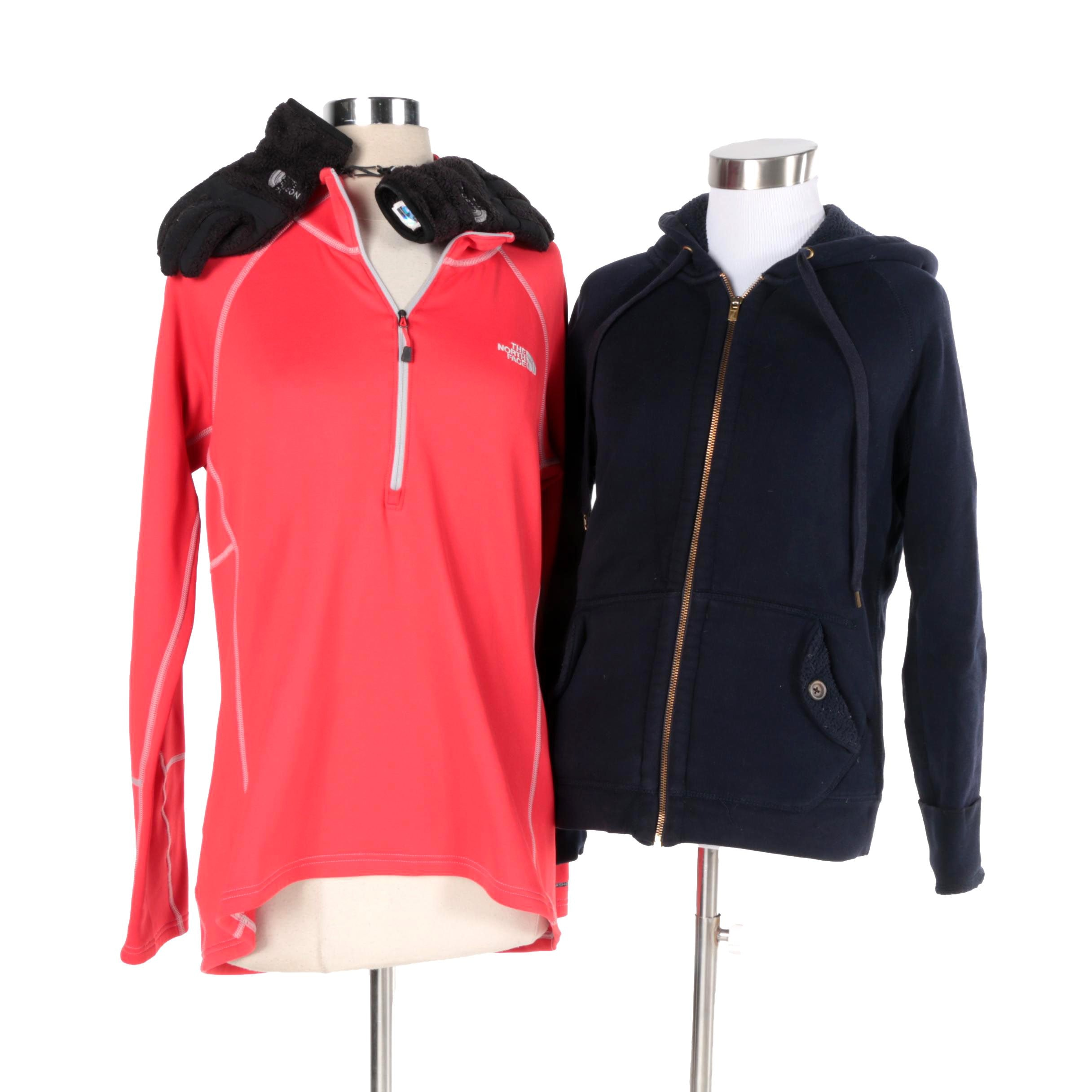 Women's The North Face Pullover, Gloves and J. Crew Hoodie