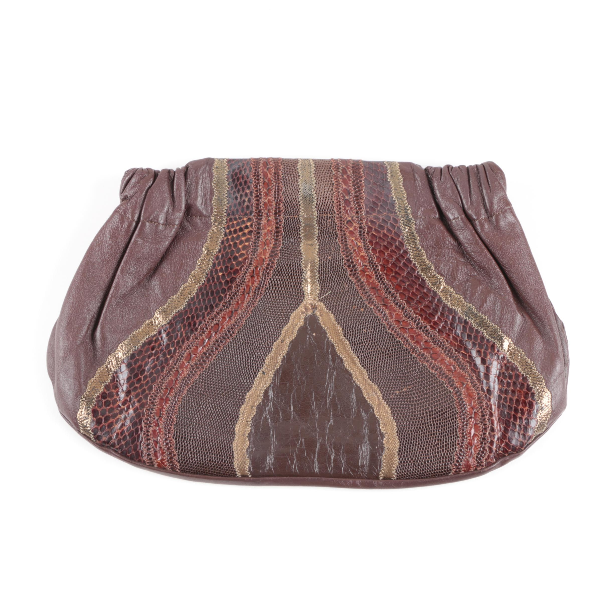 Vintage Carlos Falchi Leather and Reptile Patchwork Clutch