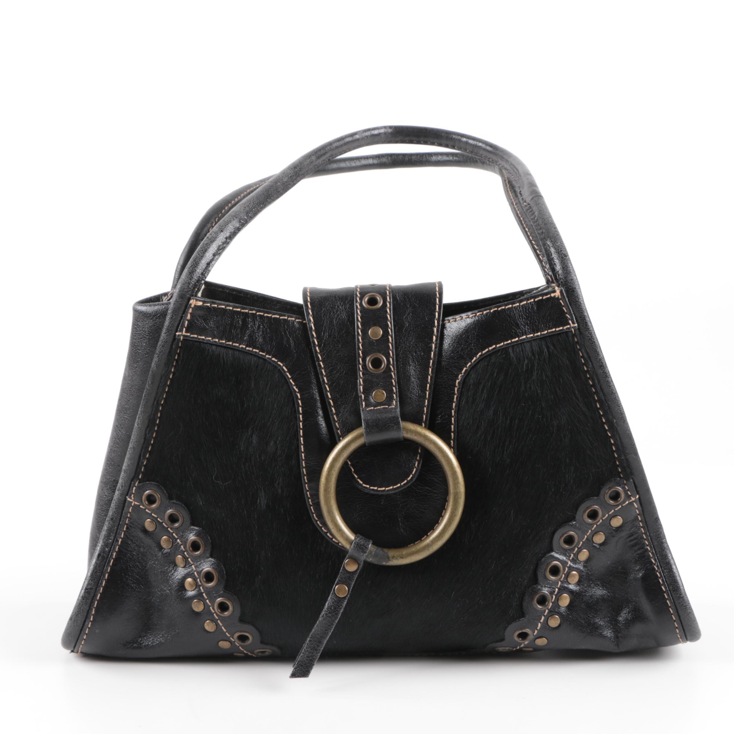 Fina Firenze Black Leather and Calf Hair Handbag