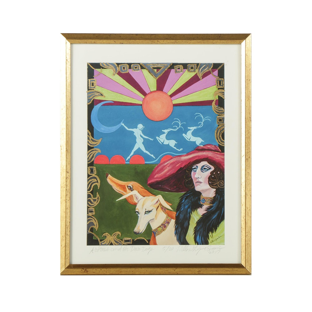 "Willow Lynne Evans Limited Edition Giclee ""Actress and Her Deco Dogs"""