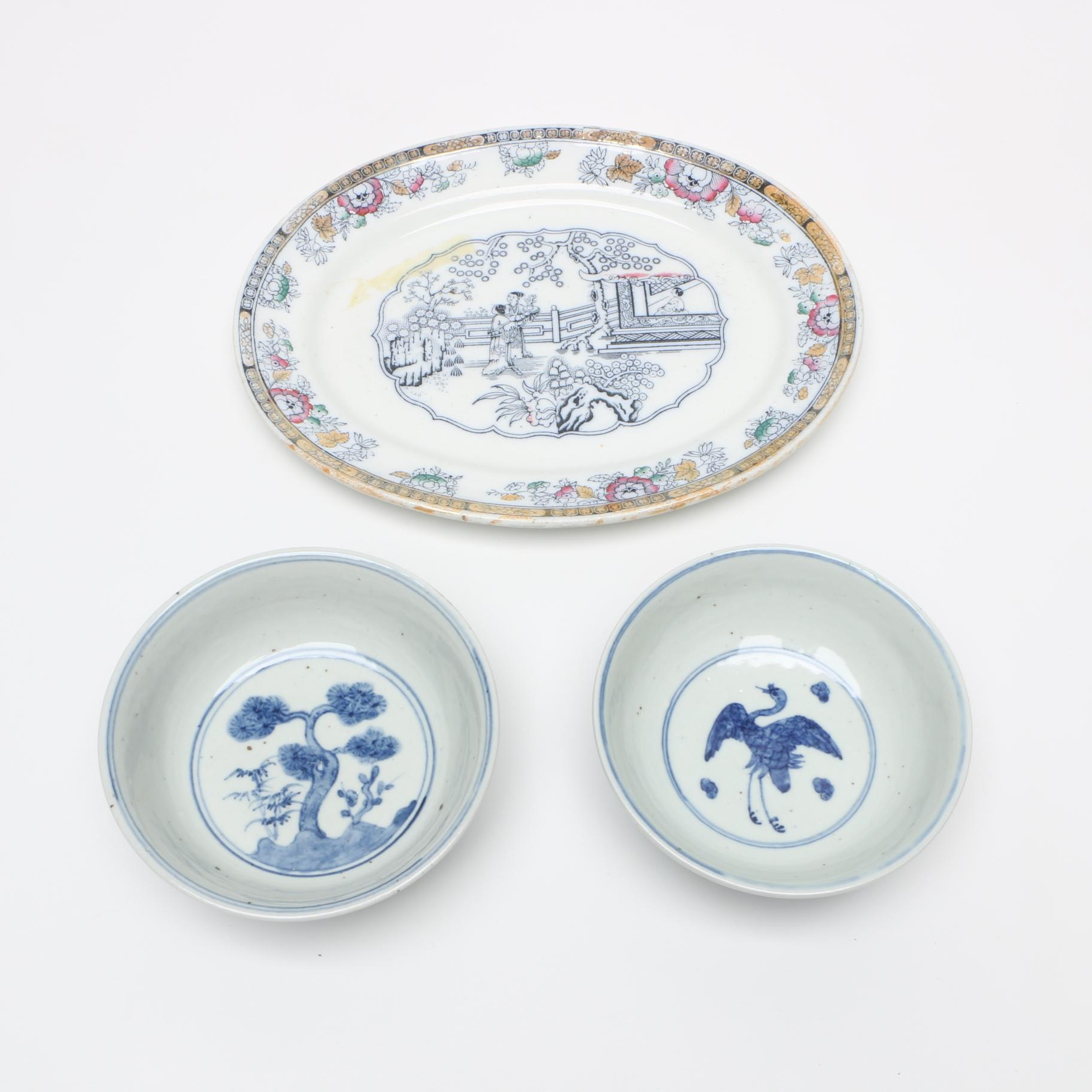 19th Century Hand-painted Bowls and Antique Ashworth Ironstone Platter
