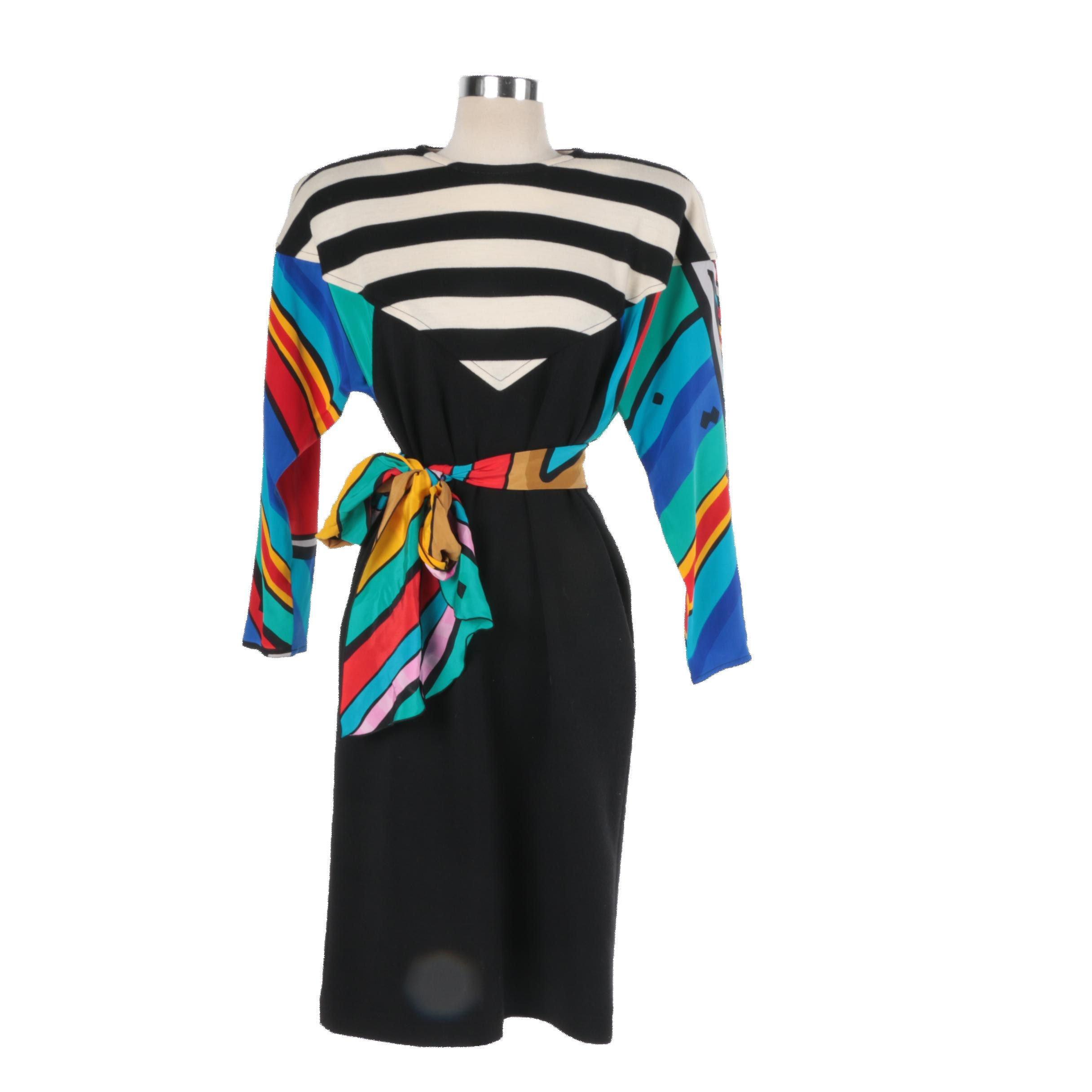 Circa 1980s Yolanda Lorente Mixed Print Wool Dress