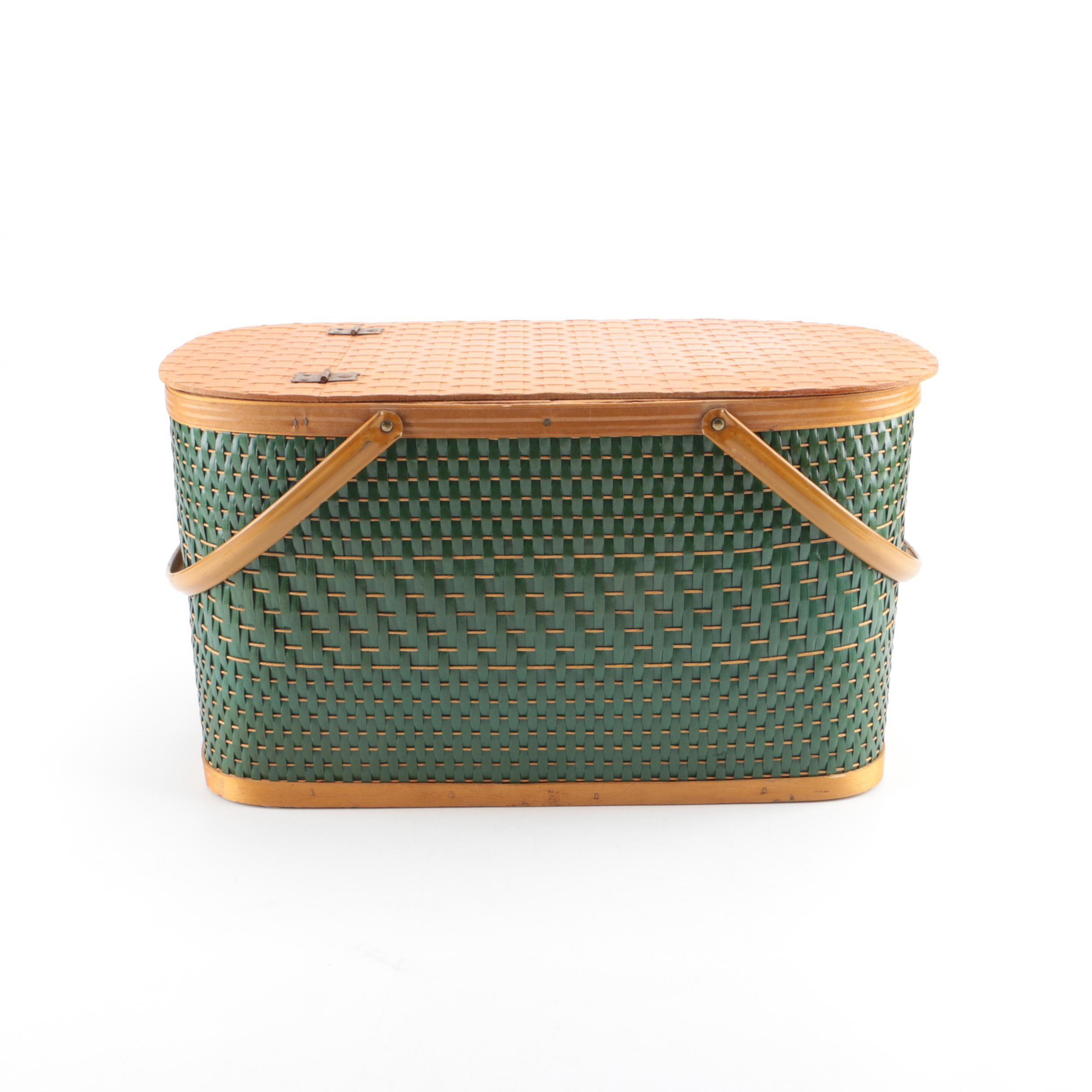 Wooden Picnic Basket with Woven Exterior and Thermos
