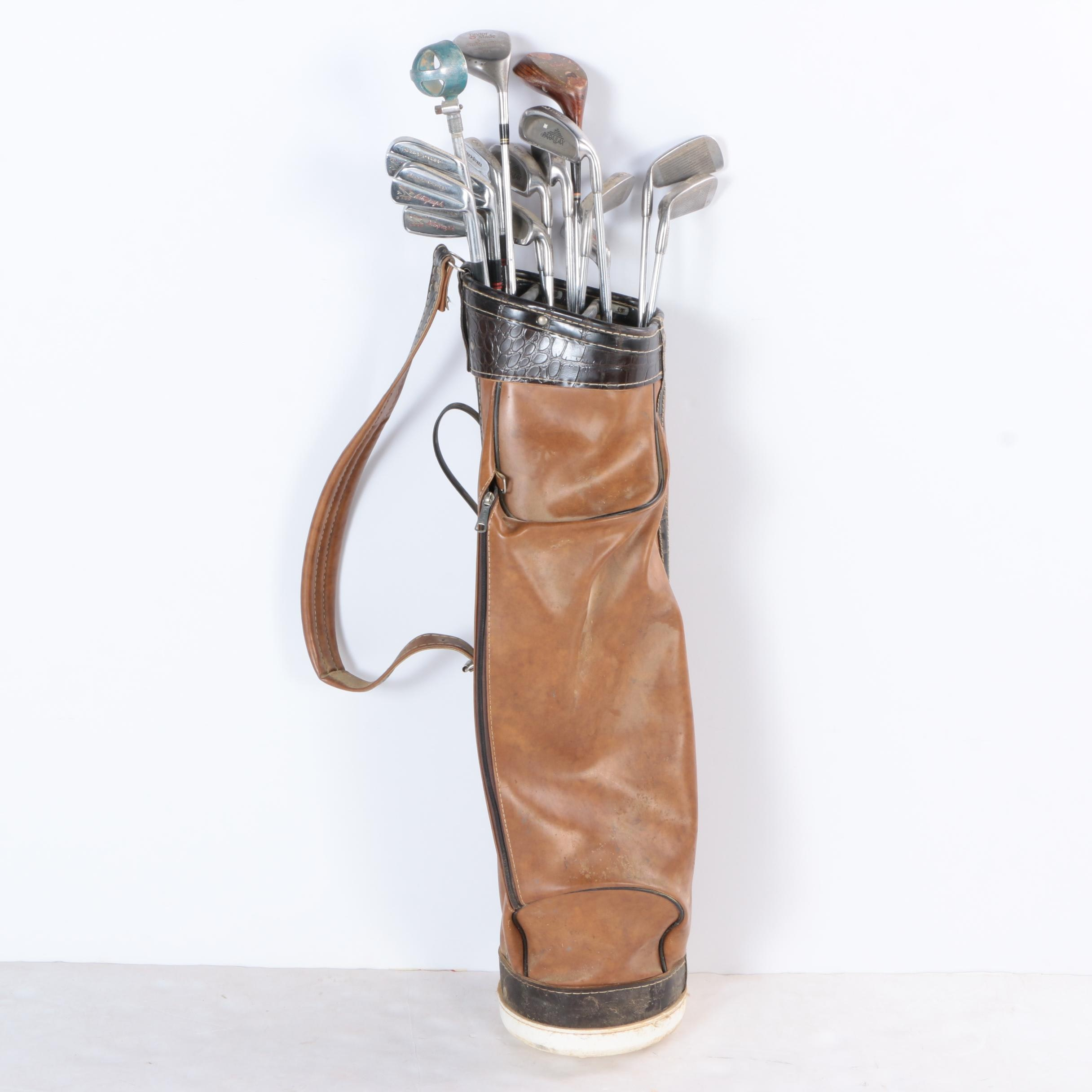 Leather Golf Bag with Assorted Clubs