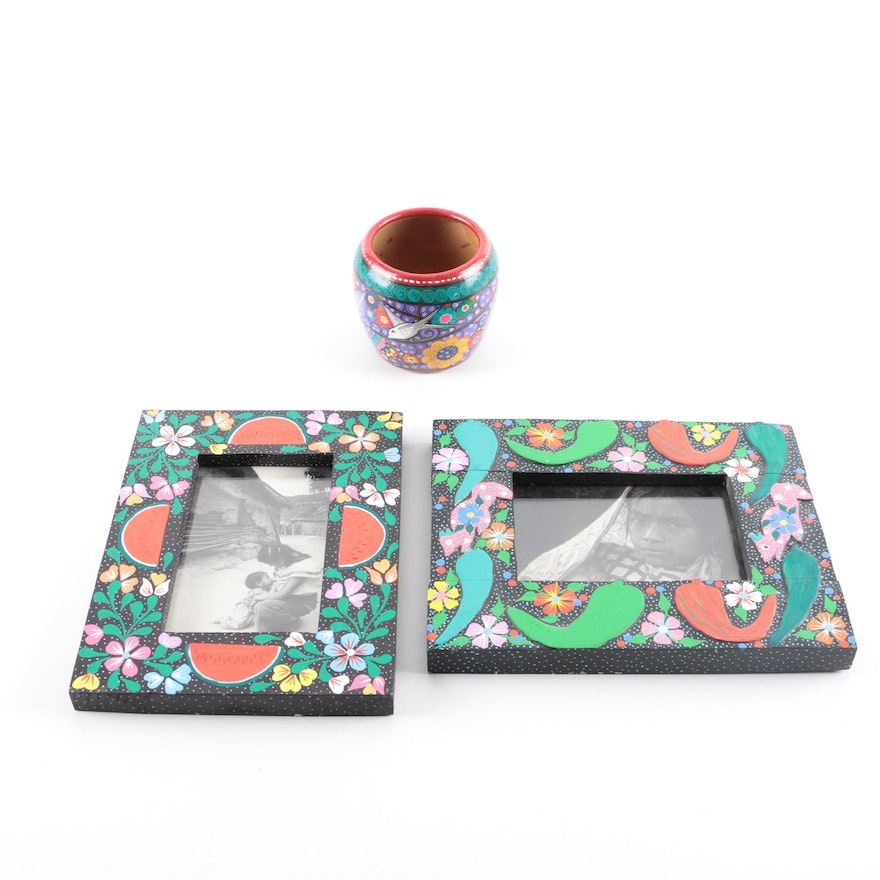Hand-Painted Signed Mexican Frames and Vase : EBTH