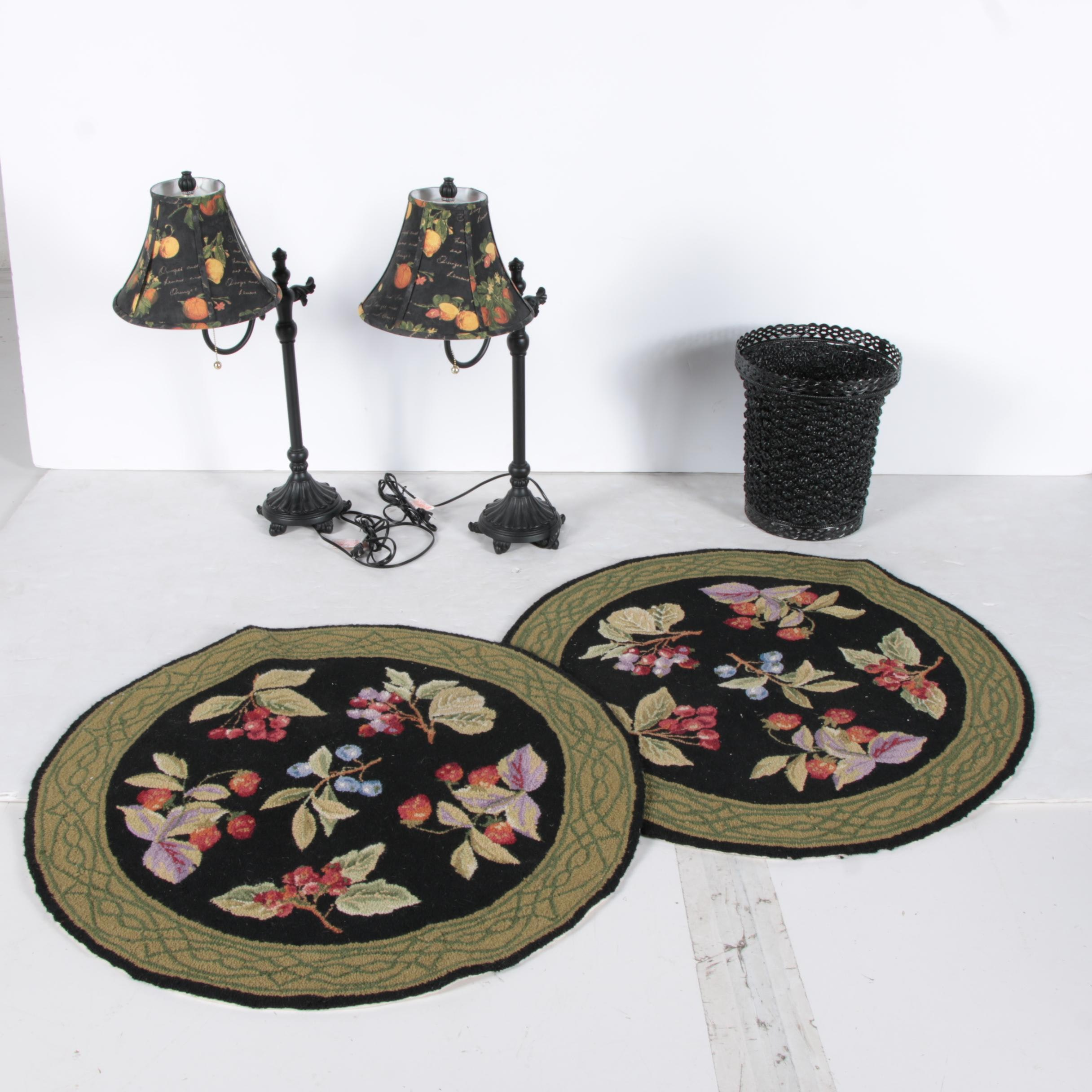 Pair of Hand Hooked Fruit Themed Accent Rugs, Table Lamps, and Wastebasket