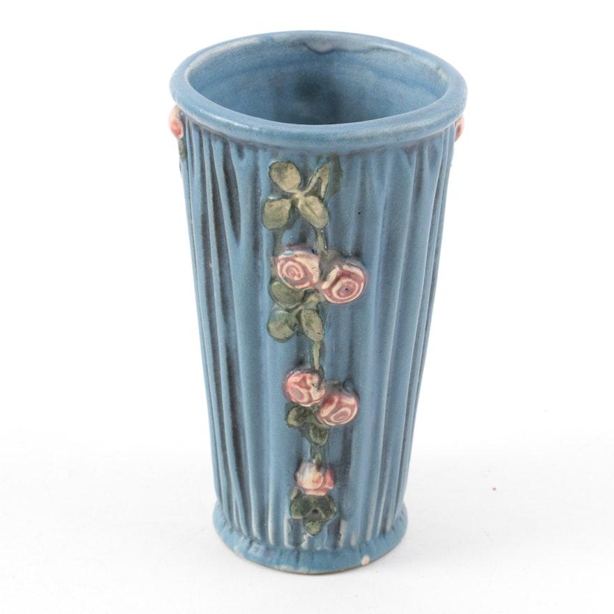 Weller Pottery Blue Drapery Vase Ebth
