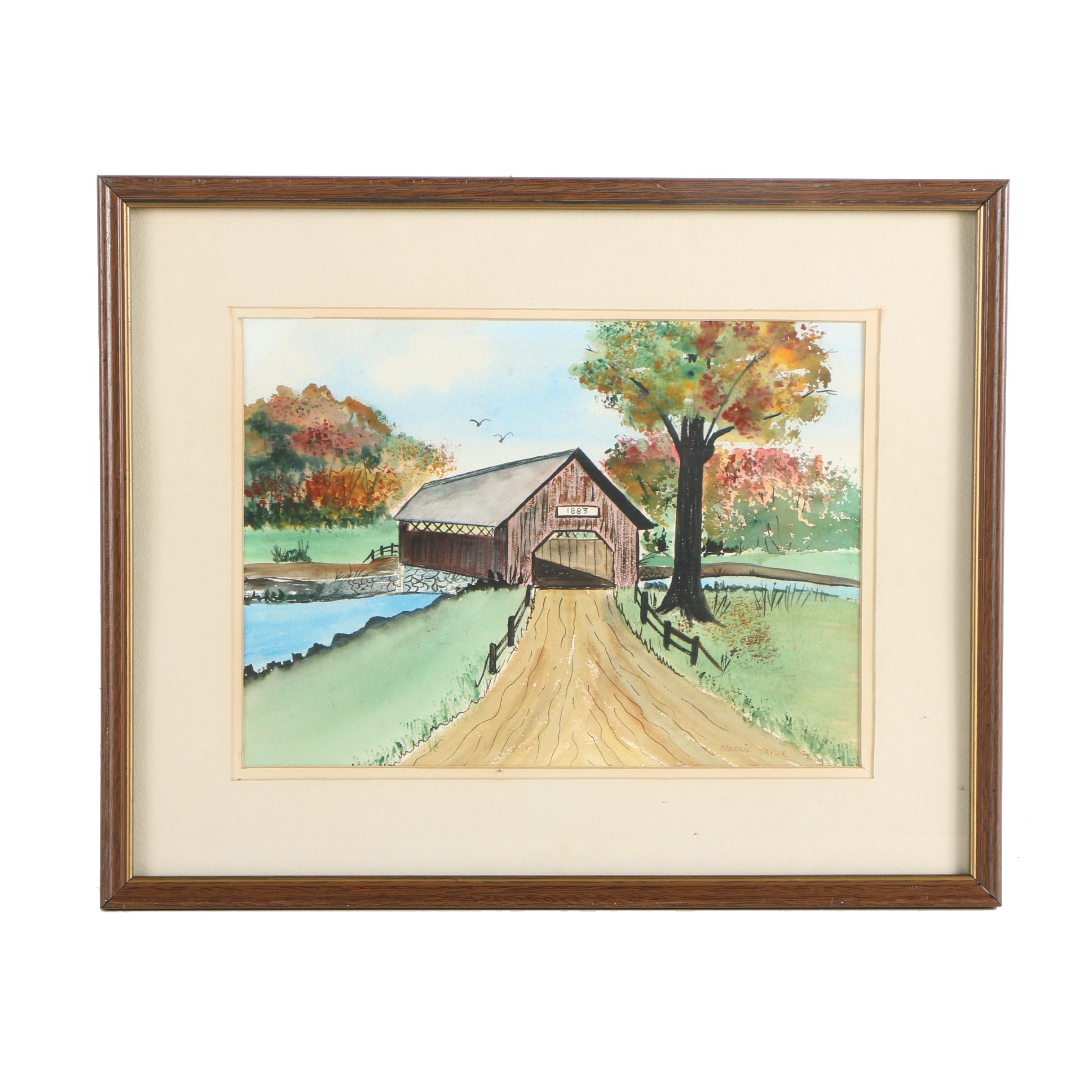 Bernie Taylor Watercolor and Gouache Painting on Paper of Bridge